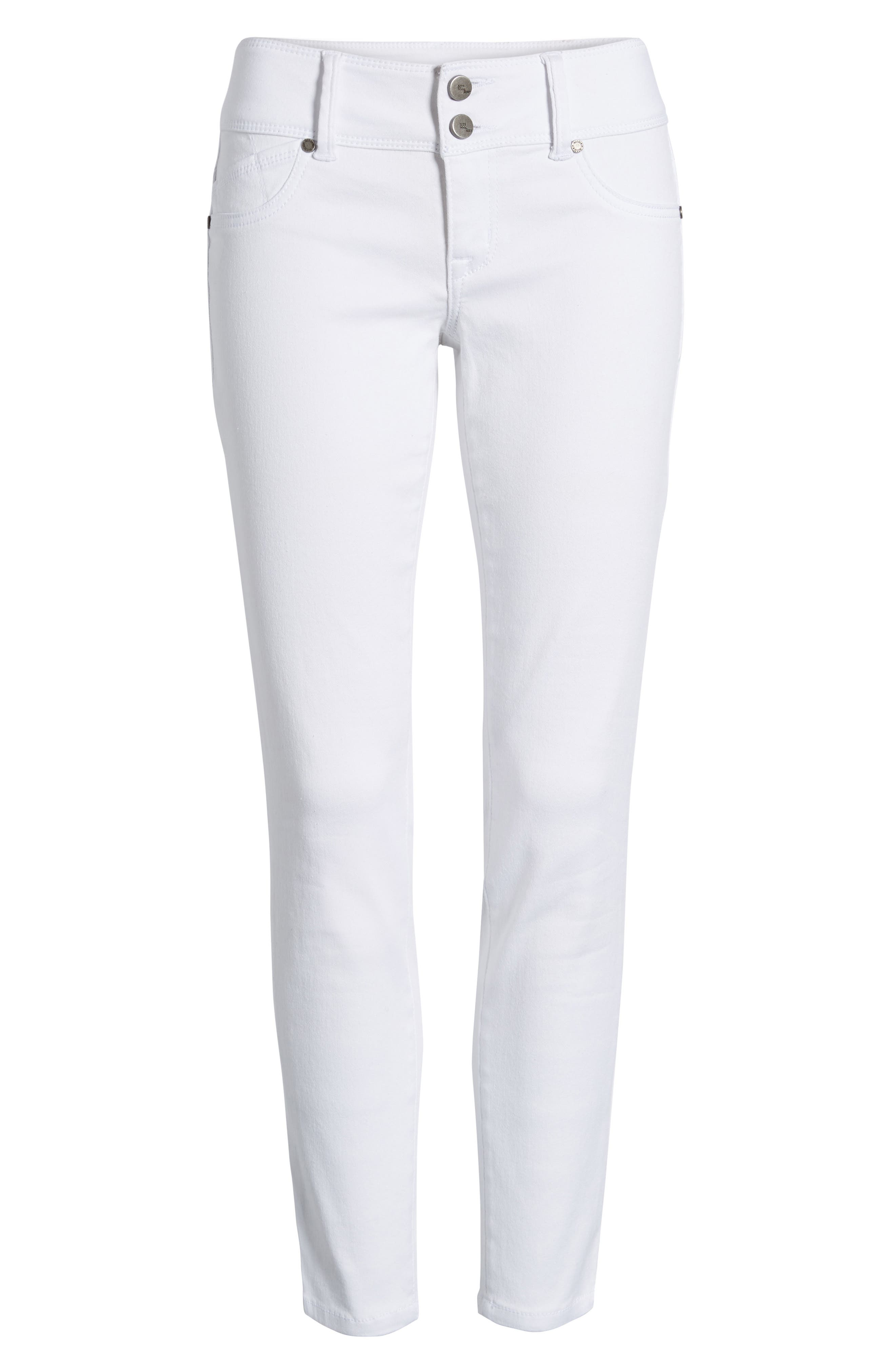 Double Button Skinny Jeans,                             Alternate thumbnail 6, color,                             White