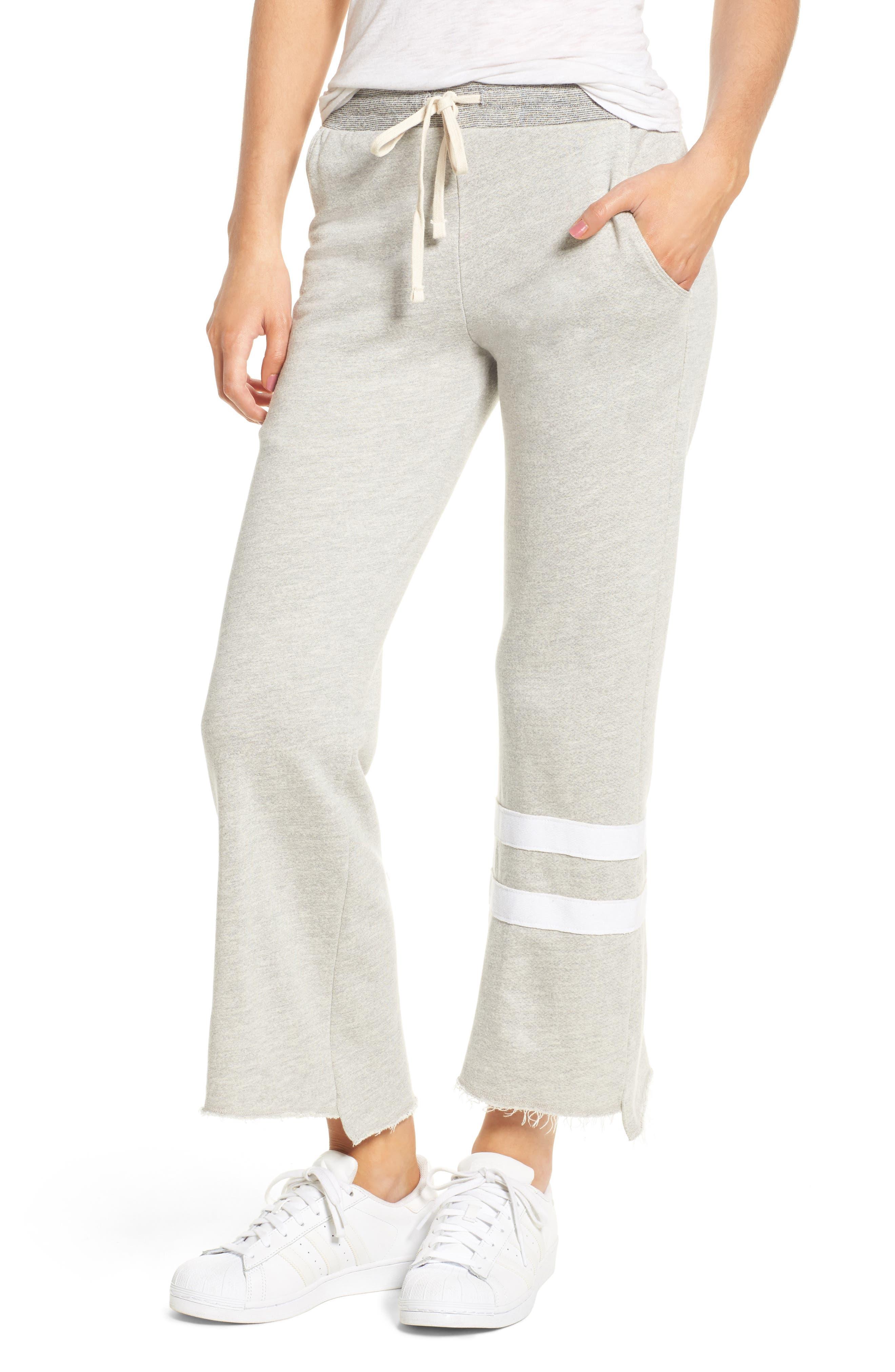 Stripe Flare Sweatpants,                         Main,                         color, Heather Grey