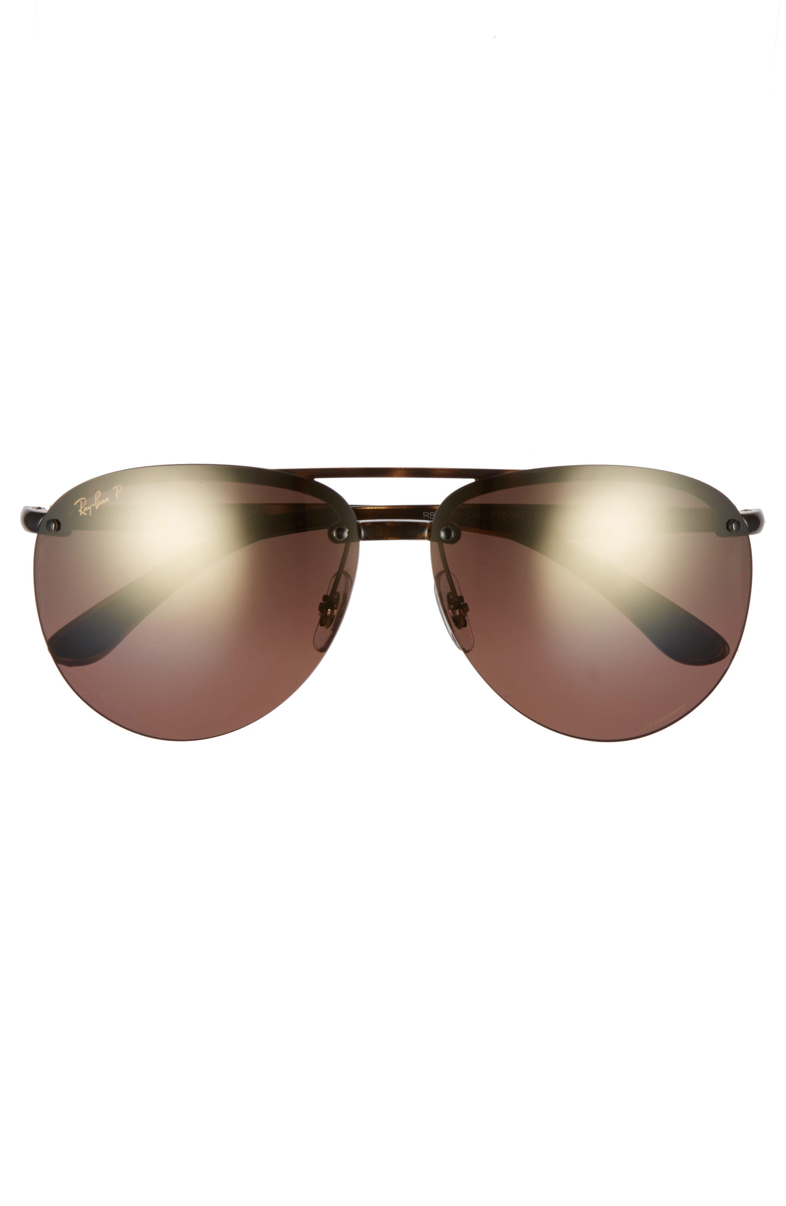 65mm Gradient Aviator Sunglasses,                             Alternate thumbnail 3, color,                             Havana
