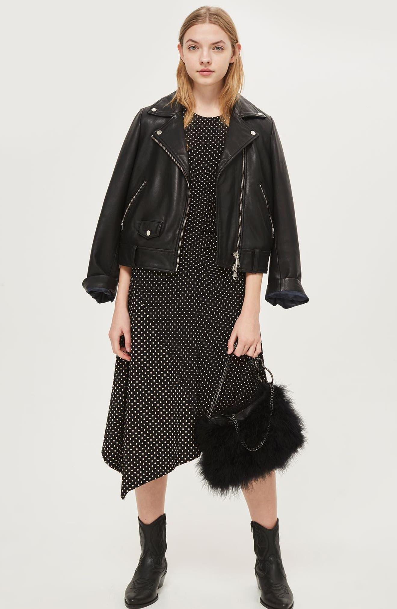 Polka Dot Asymmetrical Midi Dress,                             Alternate thumbnail 5, color,                             Black Multi