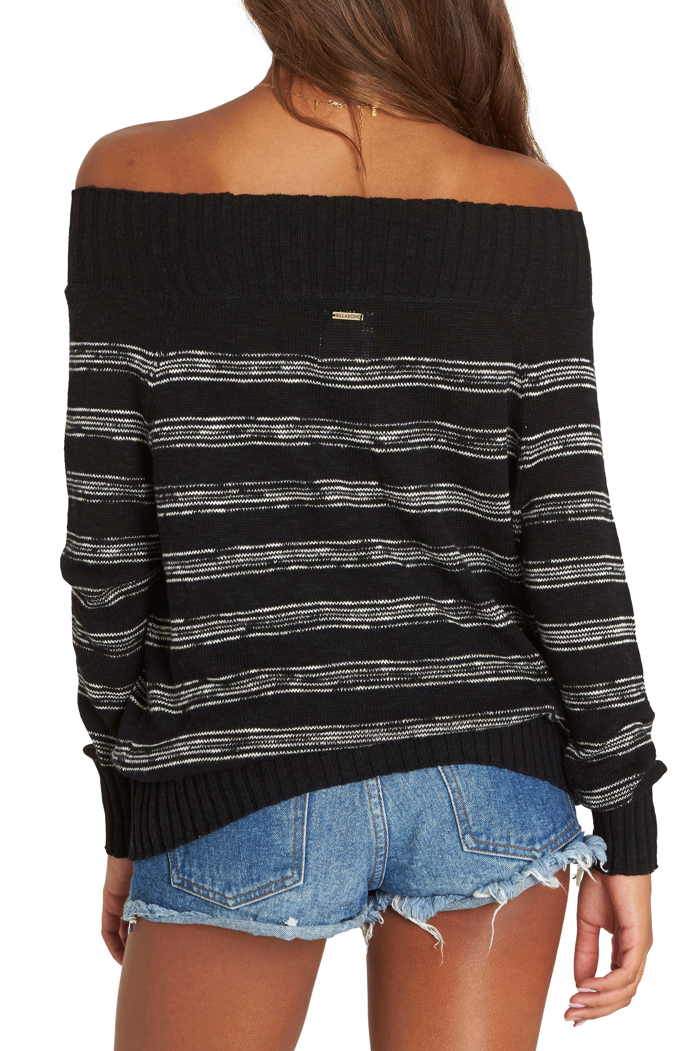 Snuggle Down Off the Shoulder Sweater,                             Alternate thumbnail 2, color,                             Black