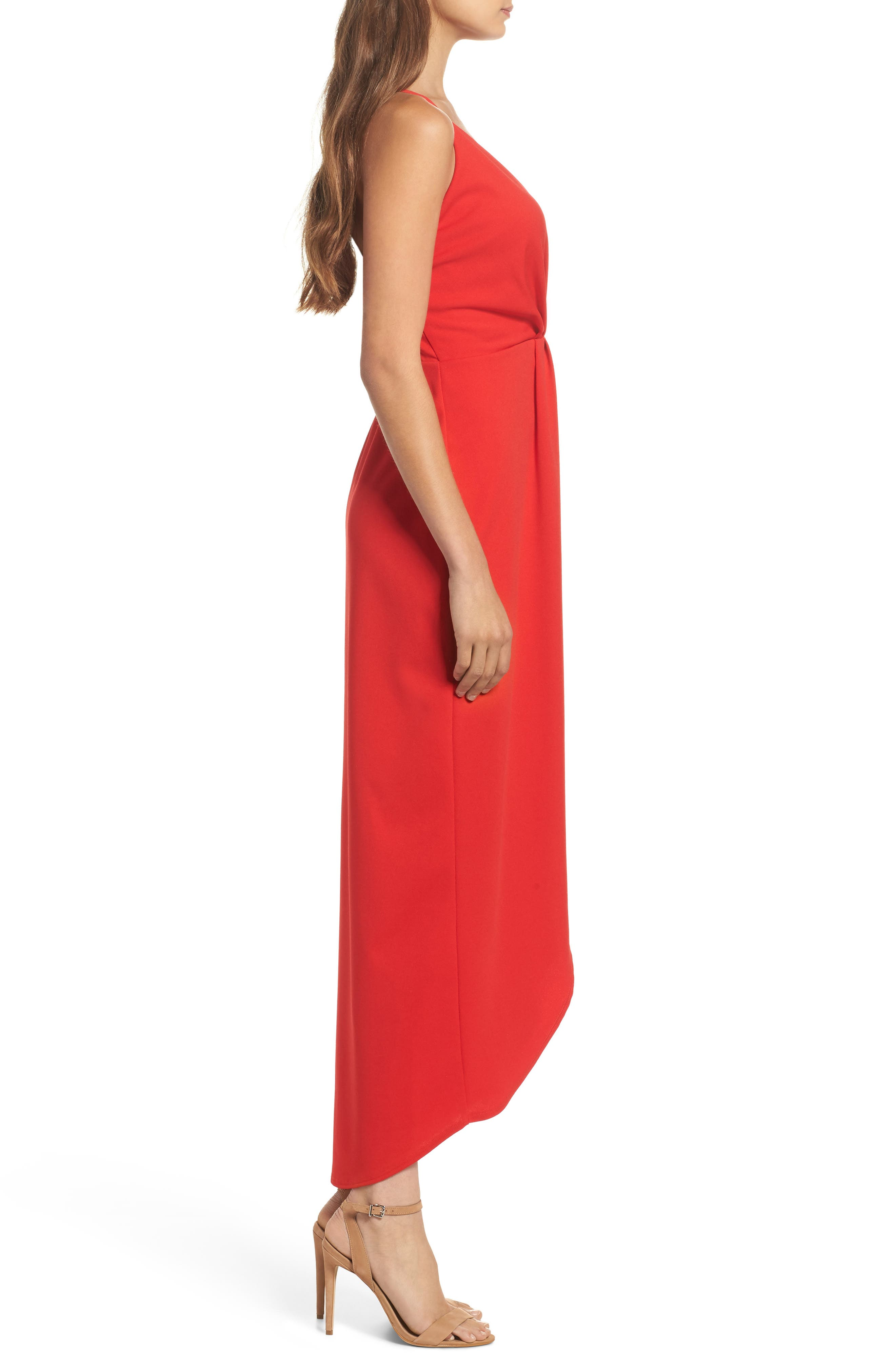 High/Low Slipdress,                             Alternate thumbnail 3, color,                             Red