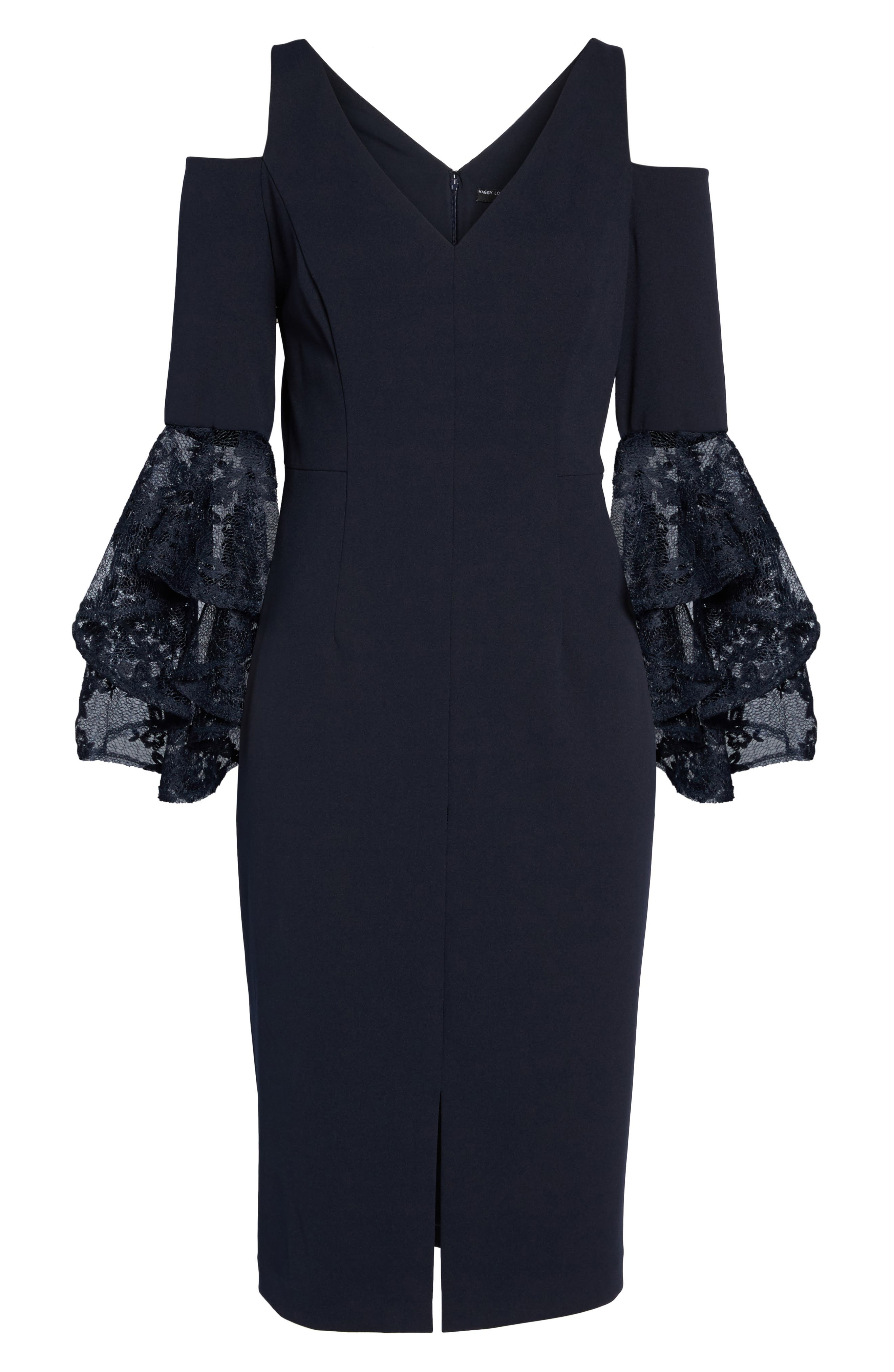 Cold Shoulder Sheath Dress,                             Alternate thumbnail 6, color,                             Dark Navy