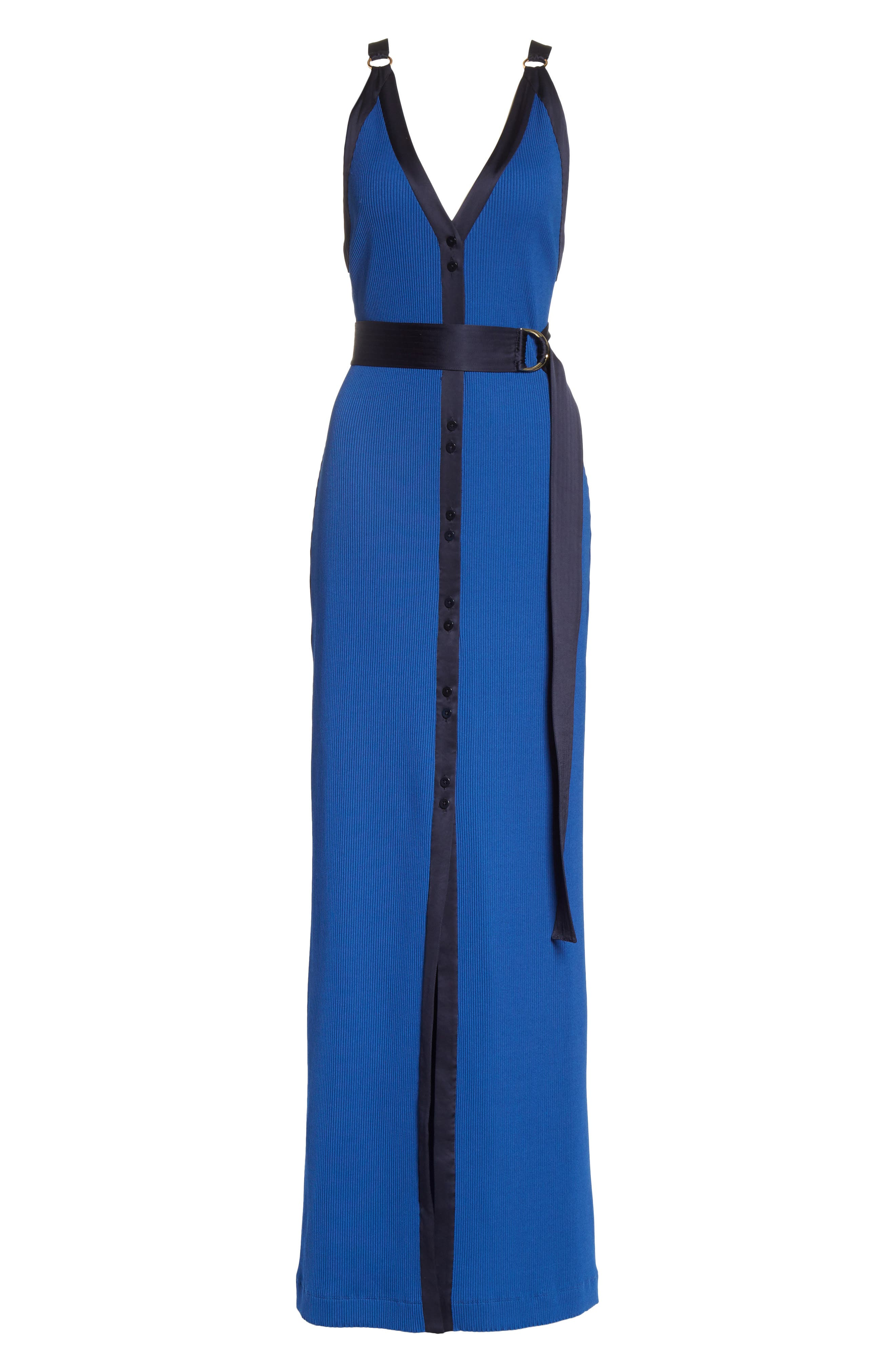Diane von Furstenberg Ribbed Jersey Maxi Dress,                             Alternate thumbnail 6, color,                             Cove/ Alexander Navy