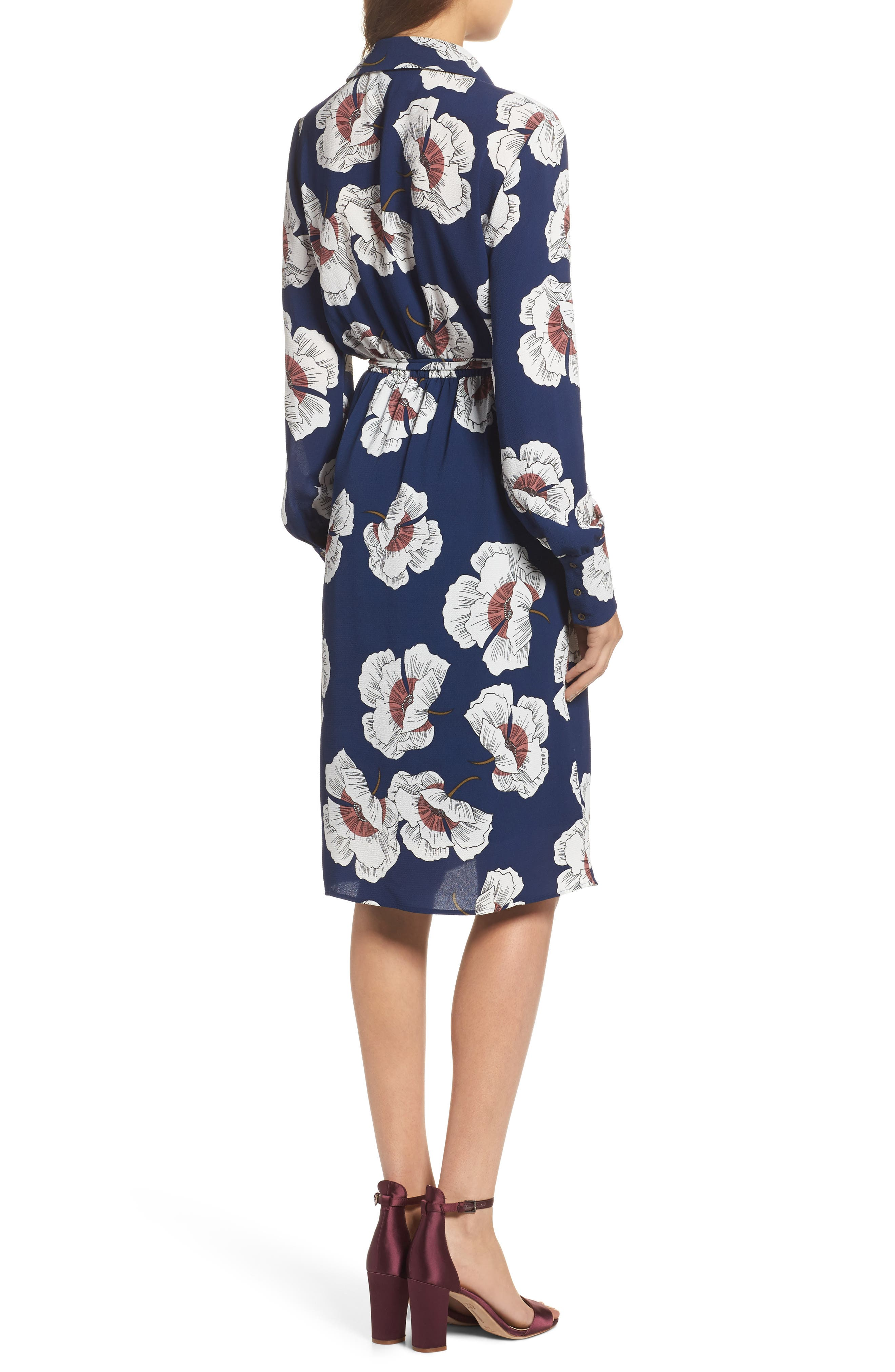 Floral Shirtdress,                             Alternate thumbnail 2, color,                             Navy Floral