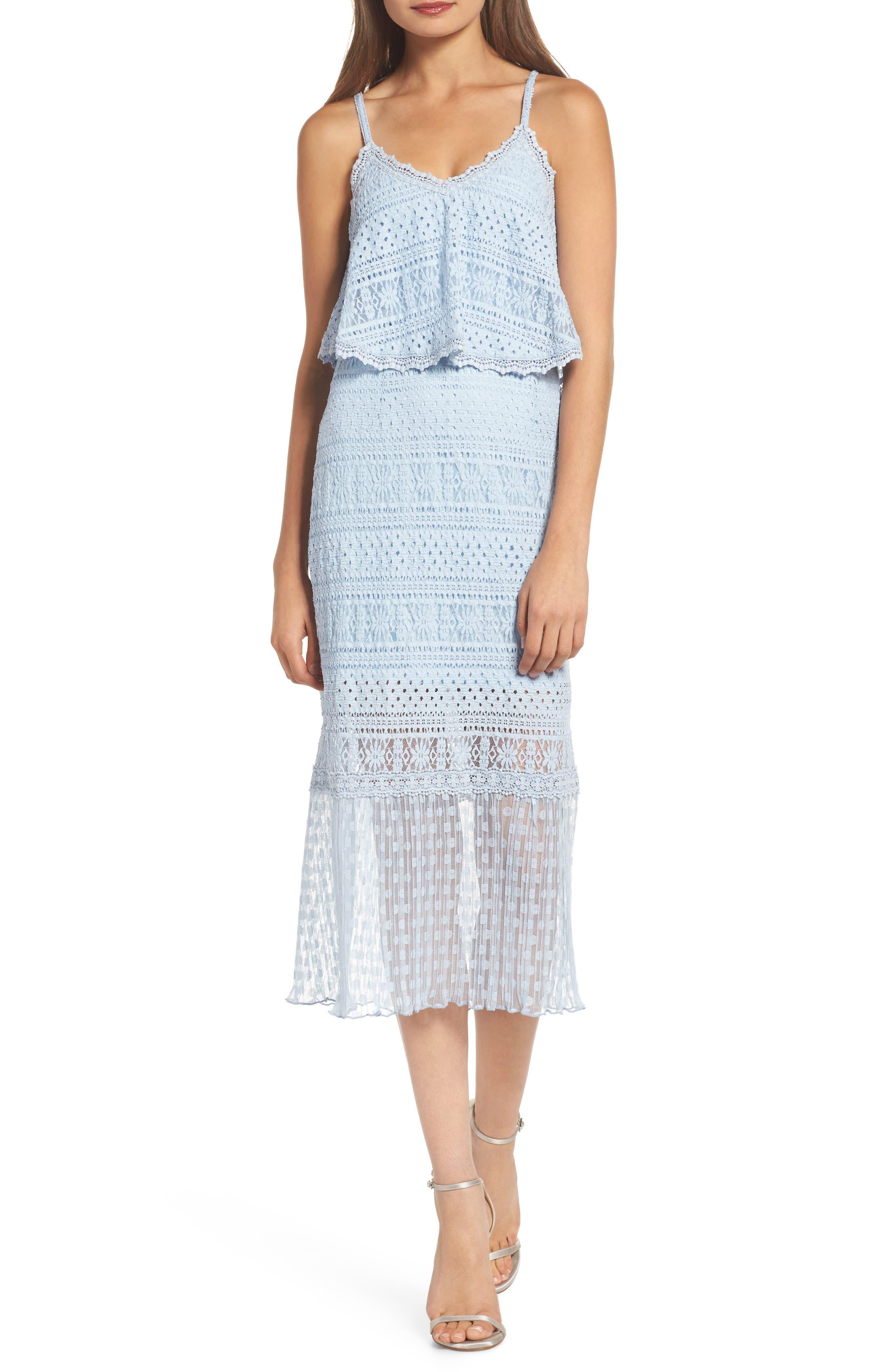 Ellie Lace Popover Midi Dress,                             Main thumbnail 1, color,                             Celestial Blue