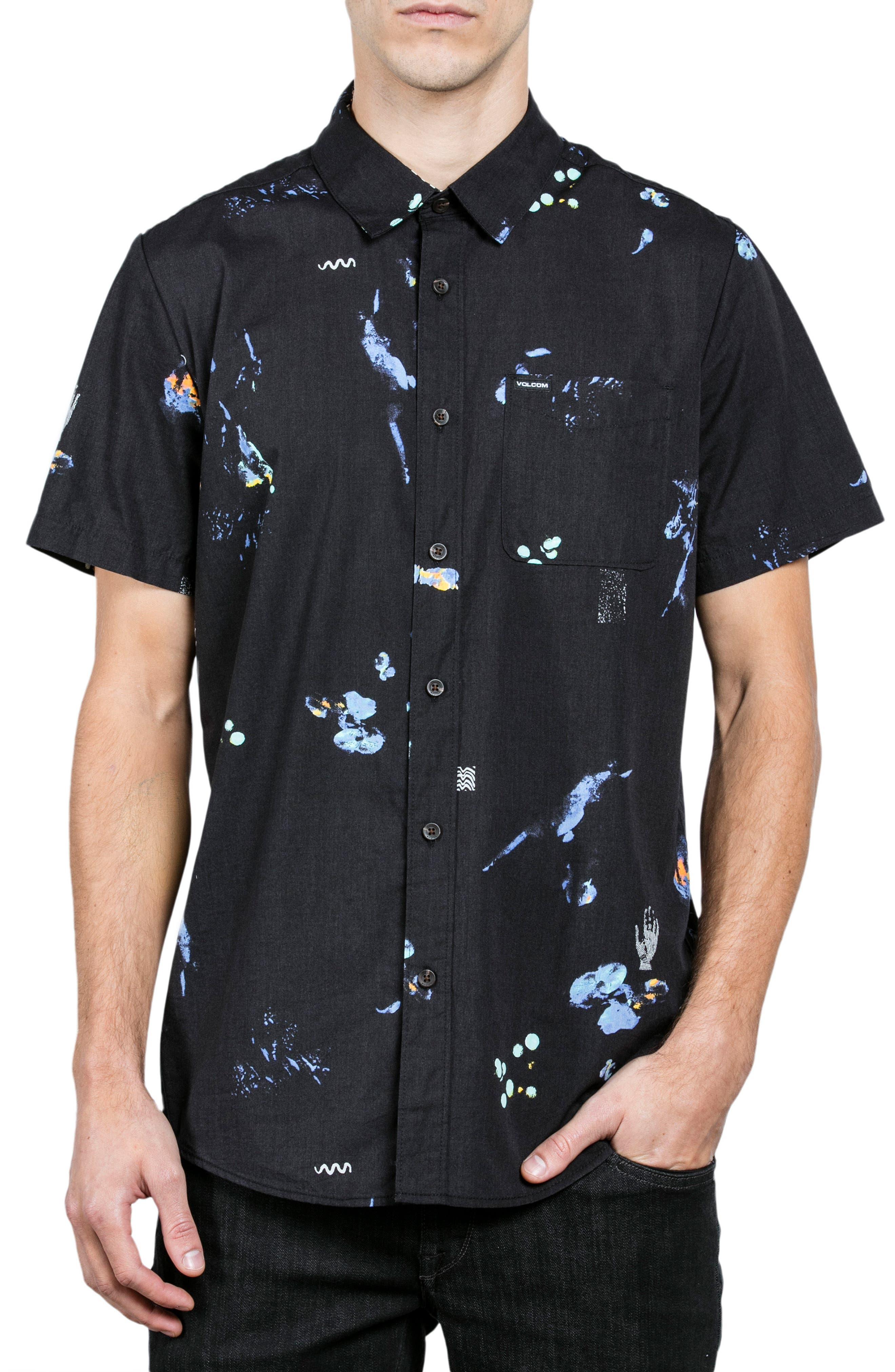 Oblivion Woven Shirt,                             Main thumbnail 1, color,                             Black
