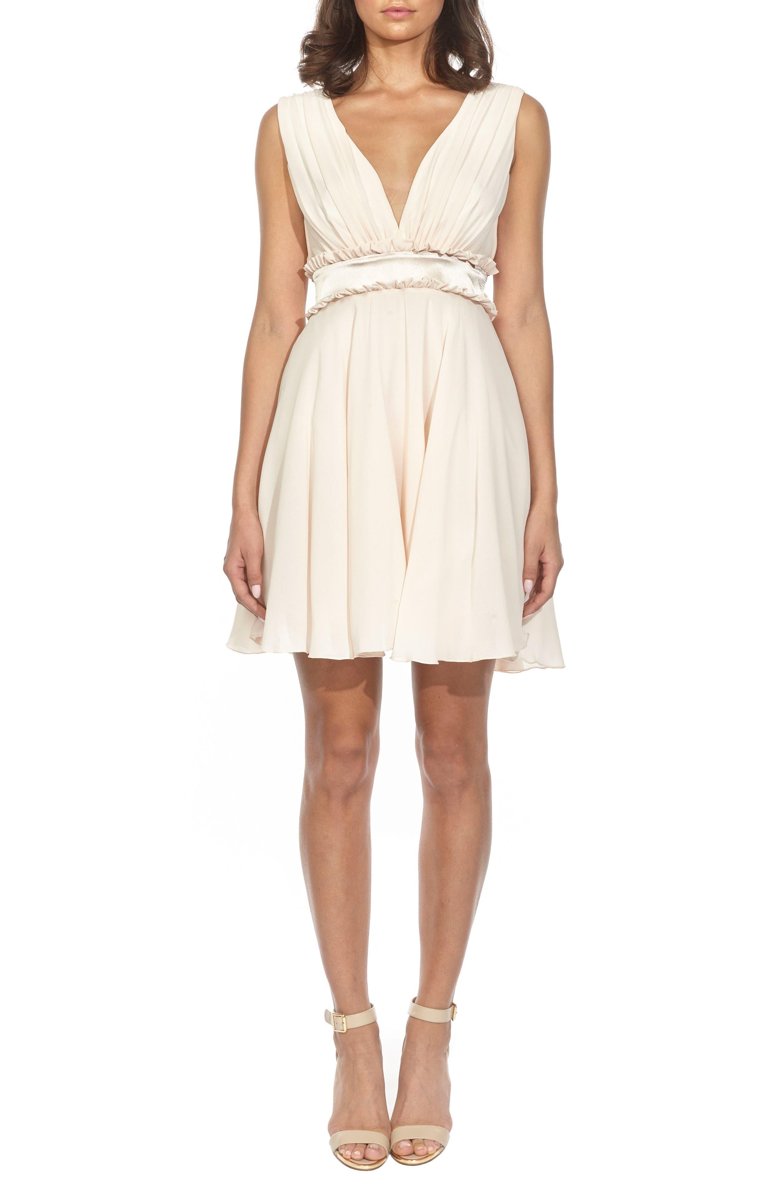 Joany Ruffle Waist Fit & Flare Dress,                         Main,                         color, Nude