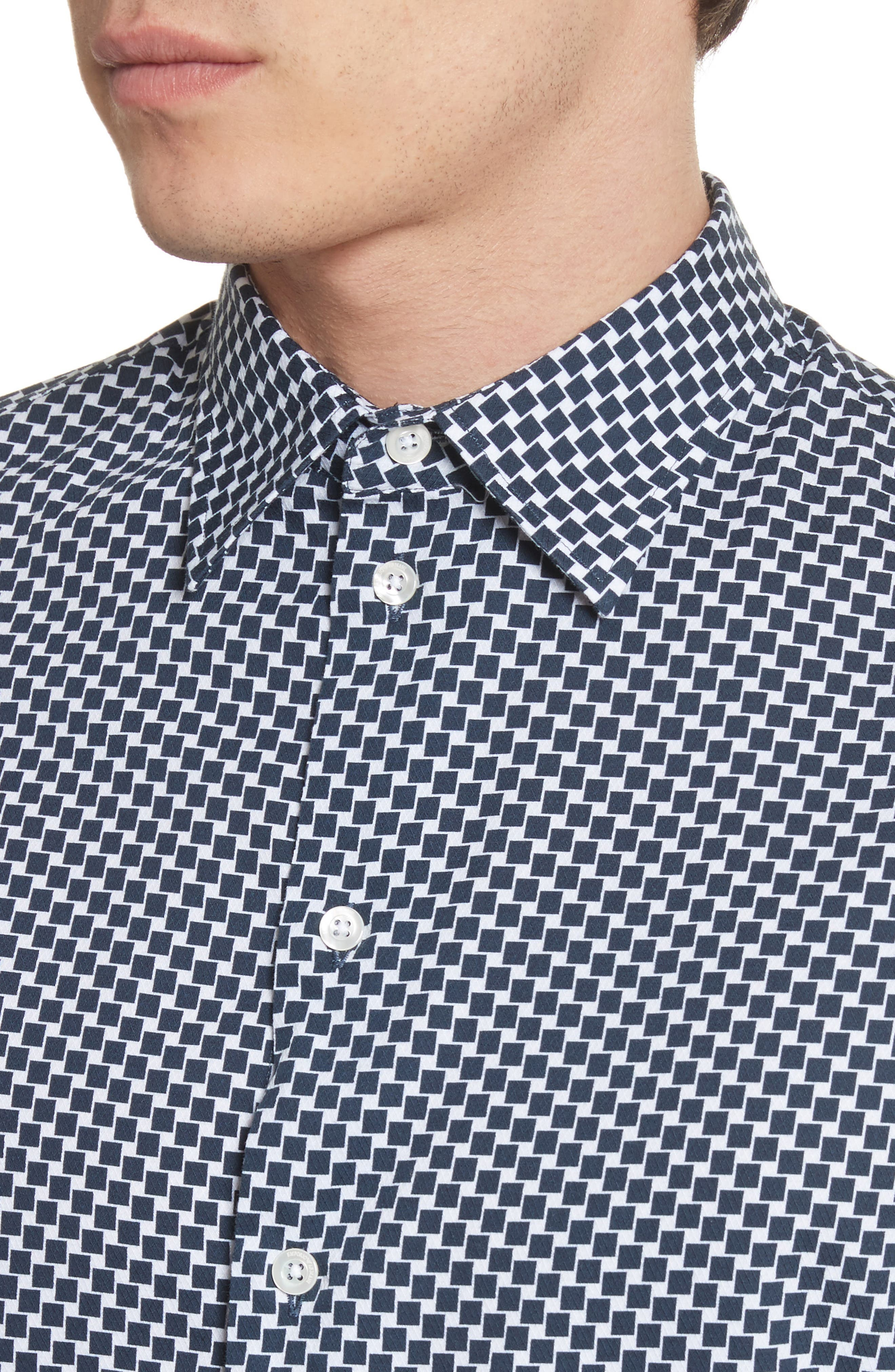 Rectangle Print Regular Fit Sport Shirt,                             Alternate thumbnail 4, color,                             Navy