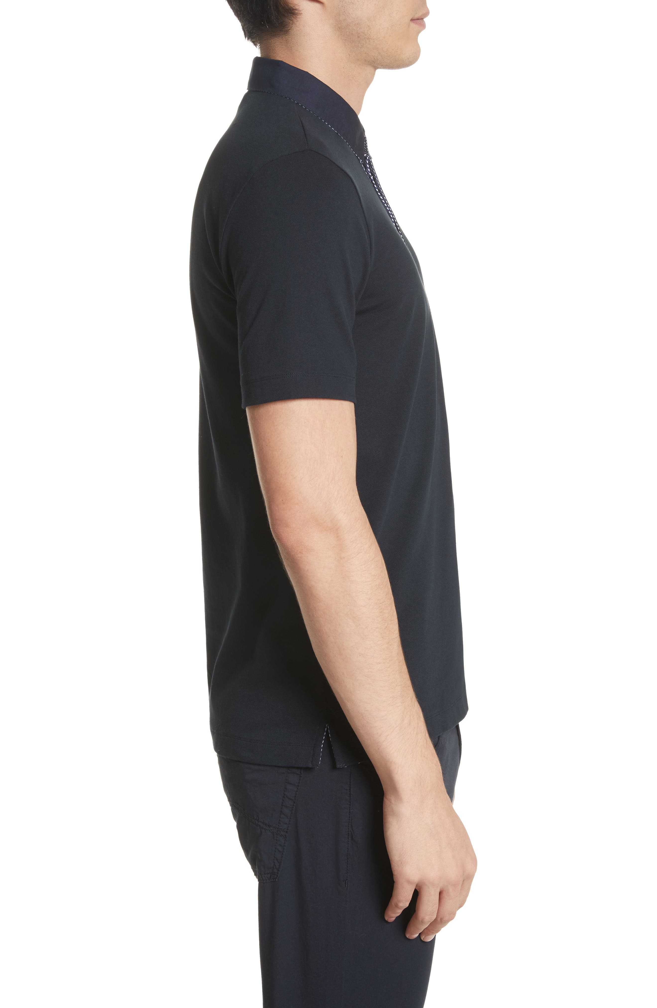 Slim Fit Stretch Polo,                             Alternate thumbnail 3, color,                             Blue Navy