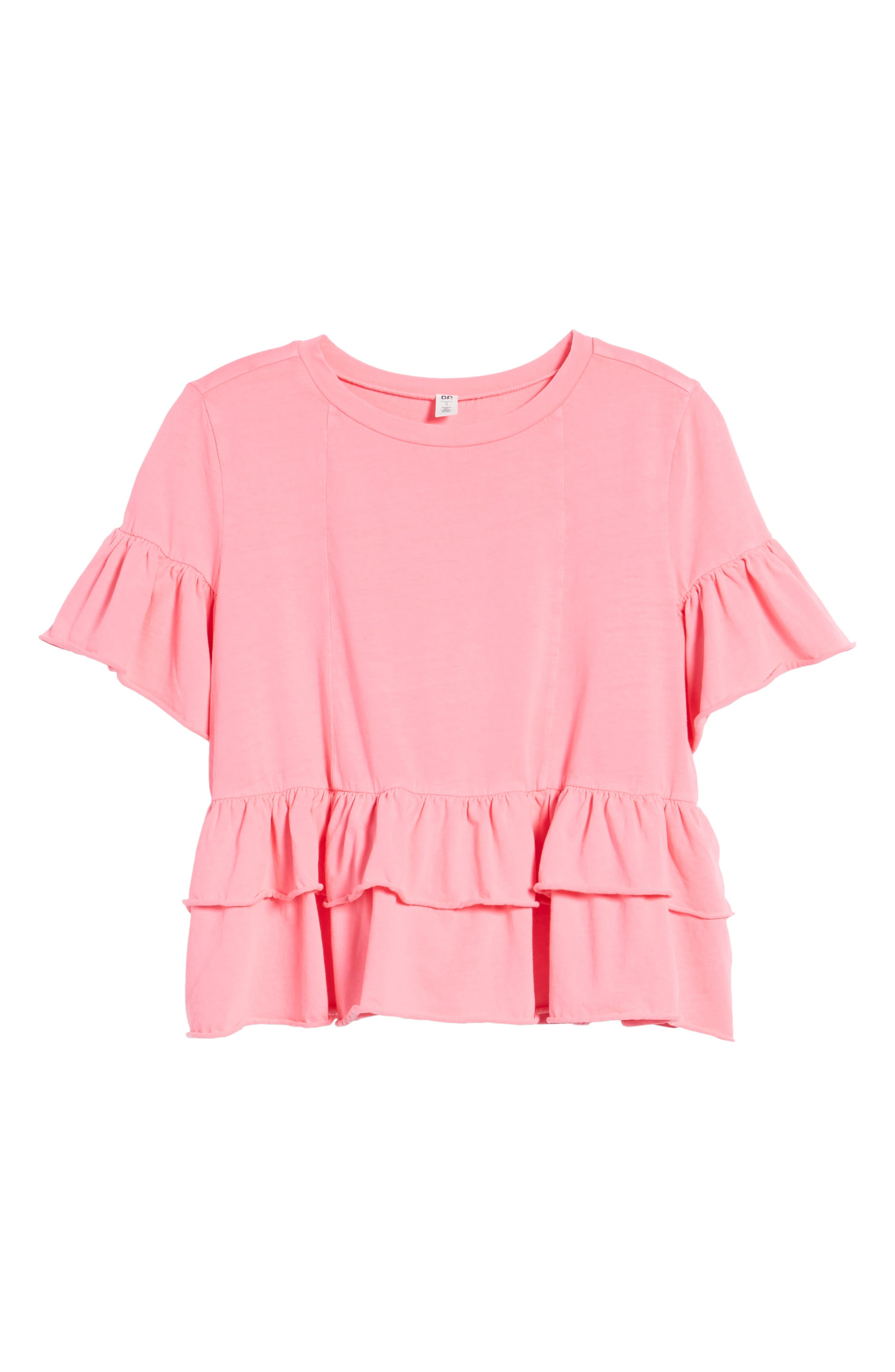 Double Peplum Ruffle Tee,                             Alternate thumbnail 6, color,                             Pink Zenna