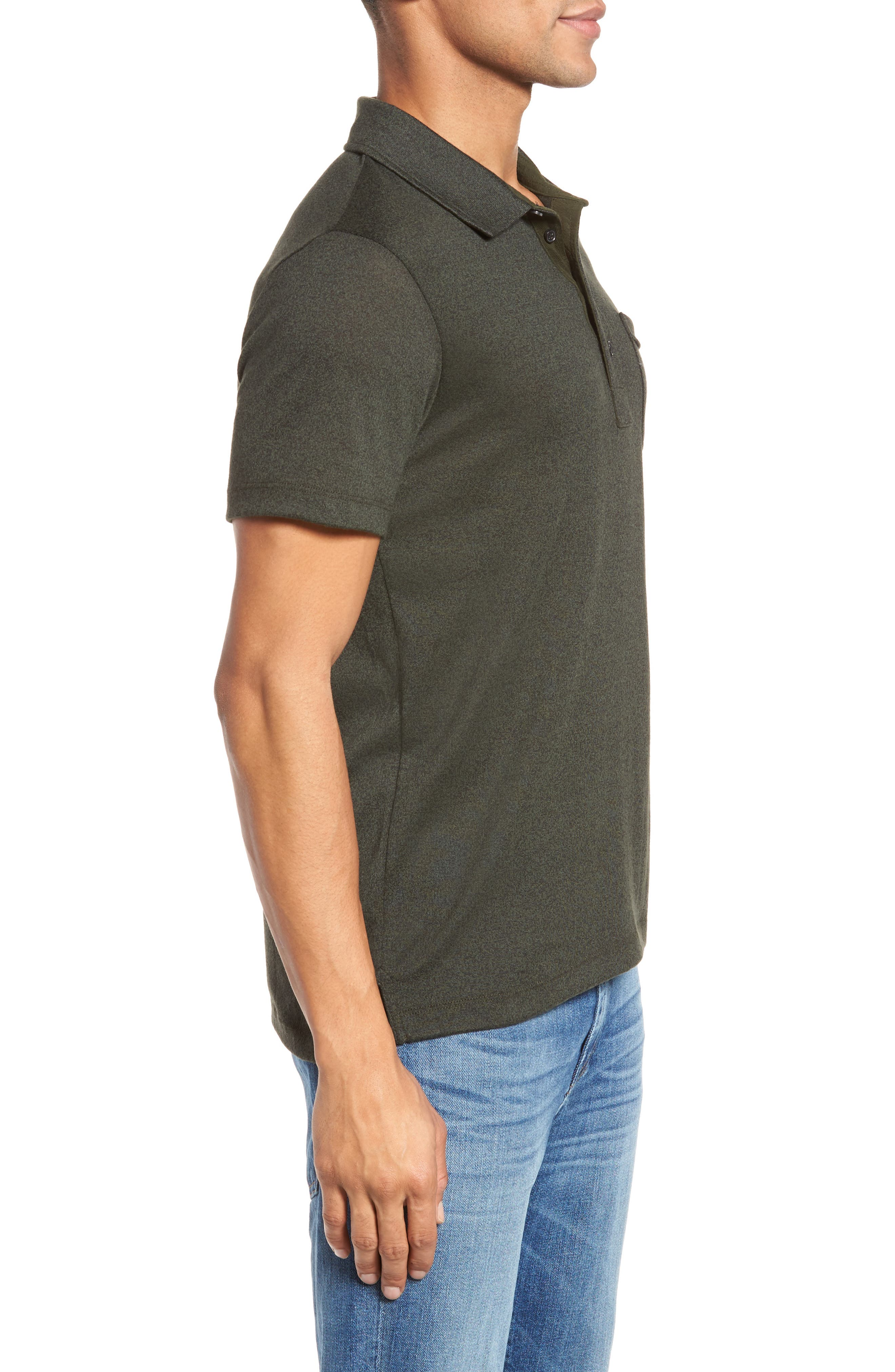 Smith Slim Fit Polo,                             Alternate thumbnail 3, color,                             Pine Green
