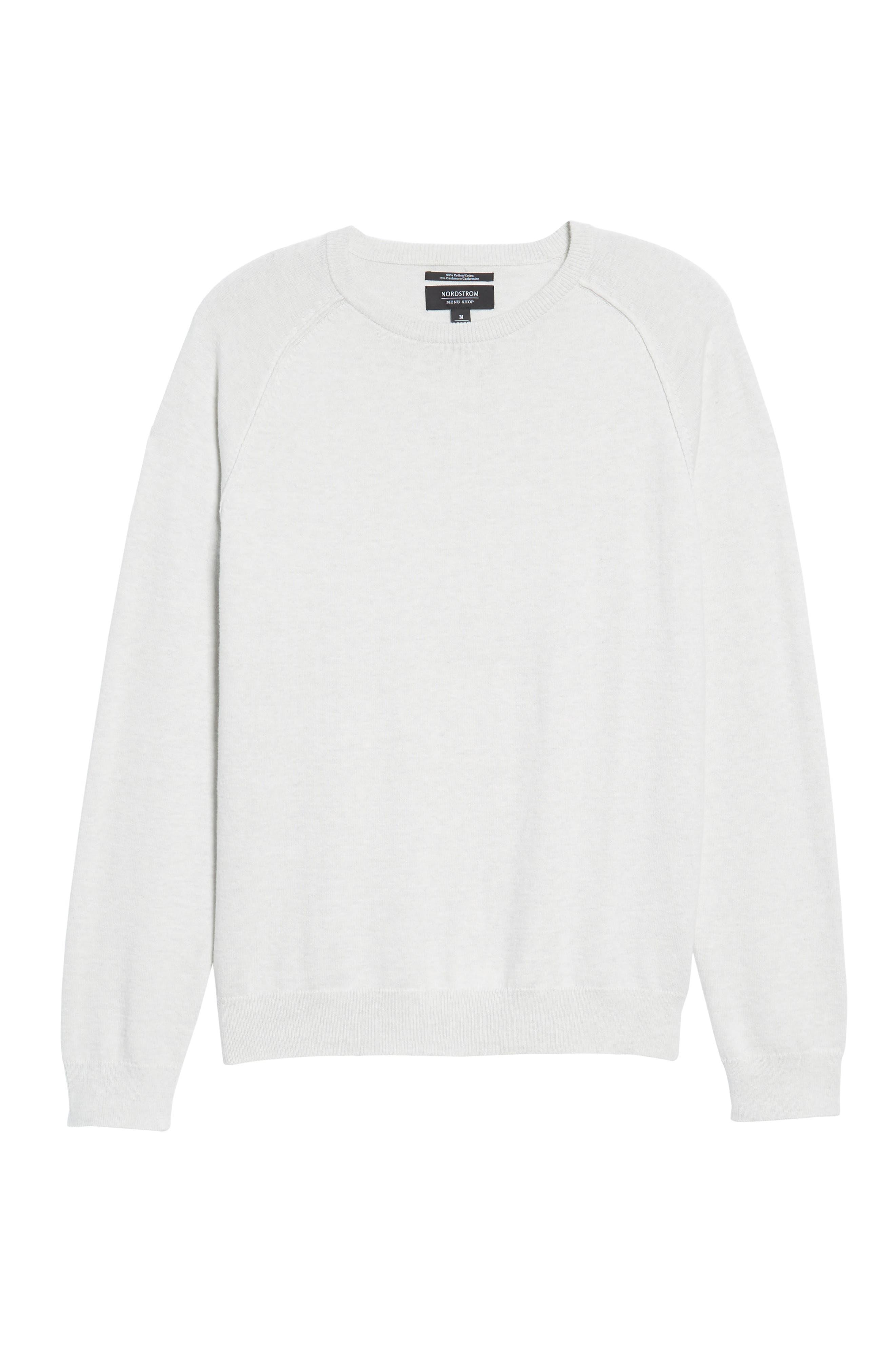 Saddle Shoulder Cotton & Cashmere Sweater,                             Alternate thumbnail 6, color,                             White Marl