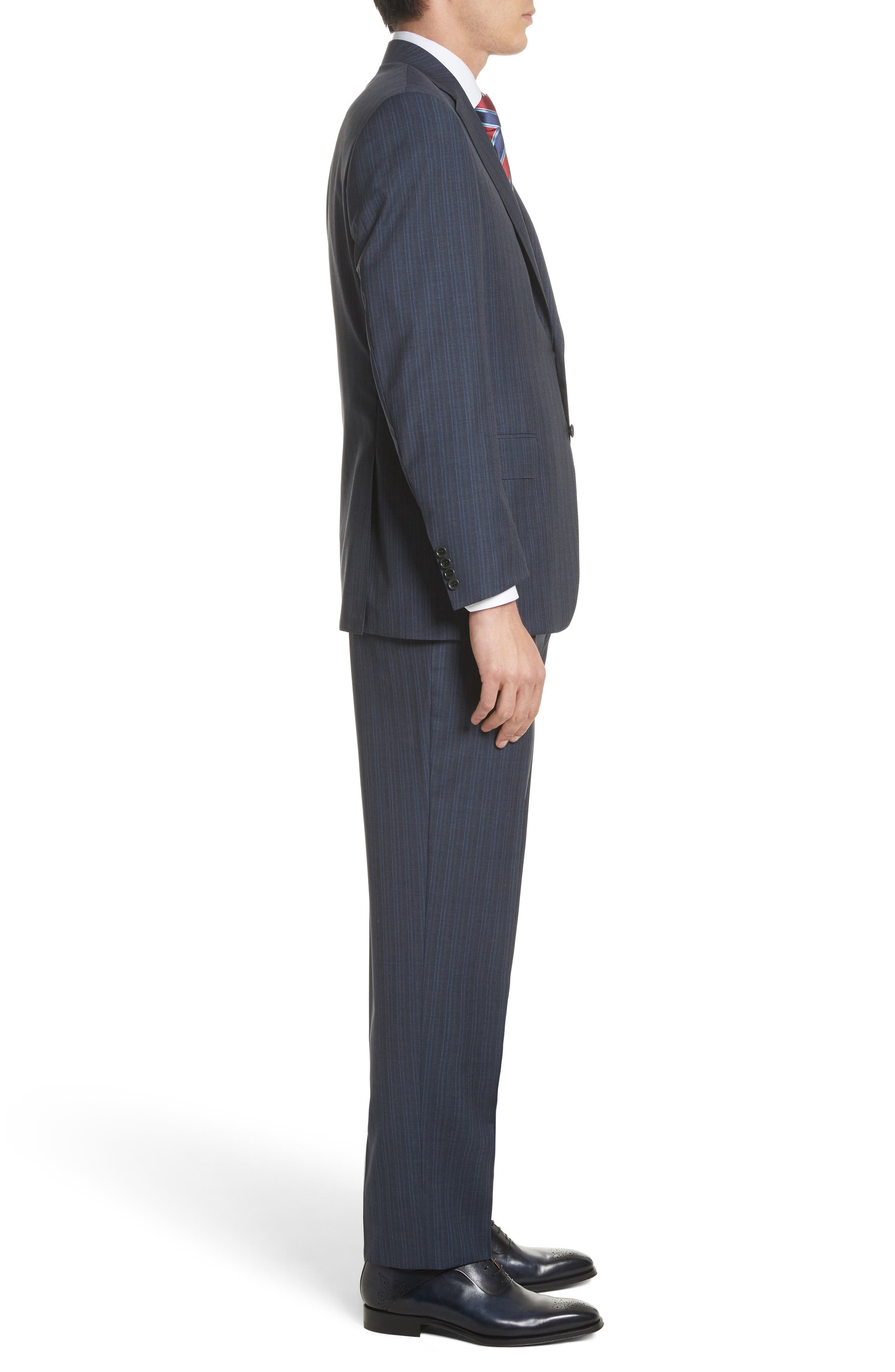 Classic Fit Stripe Wool Suit,                             Alternate thumbnail 3, color,                             Navy