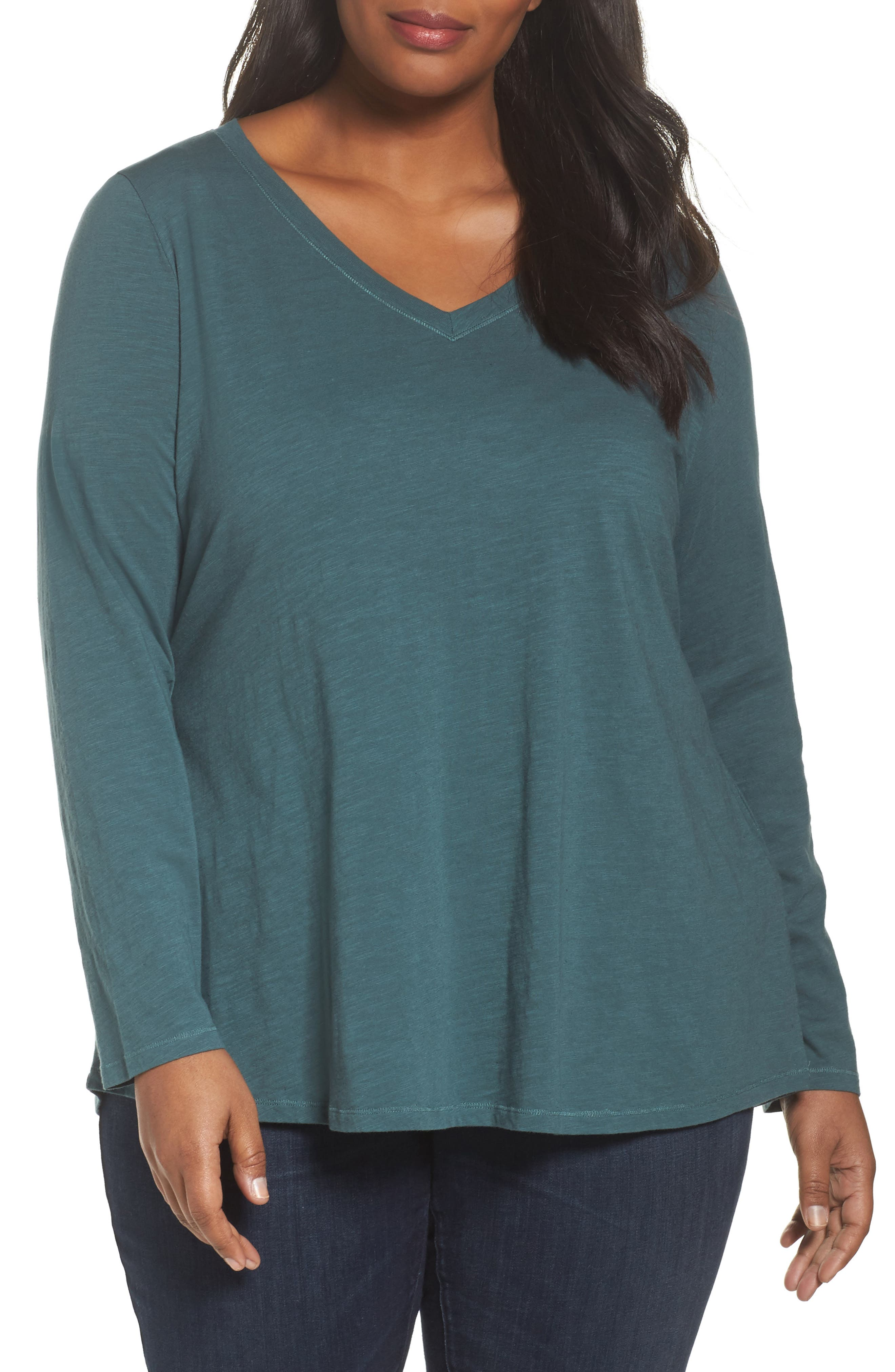 Organic Cotton V-Neck Top,                         Main,                         color, Dragonfly