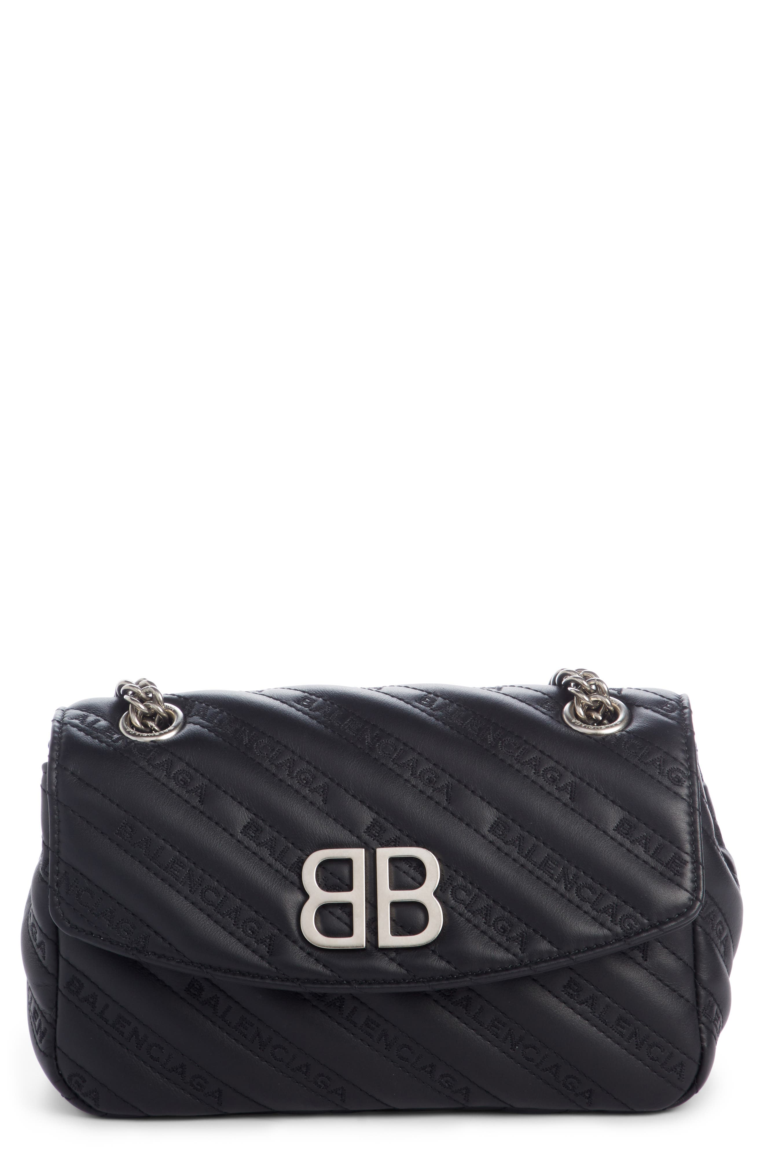 Balenciaga Small Matelasse Leather Shoulder Bag - Black In Noir