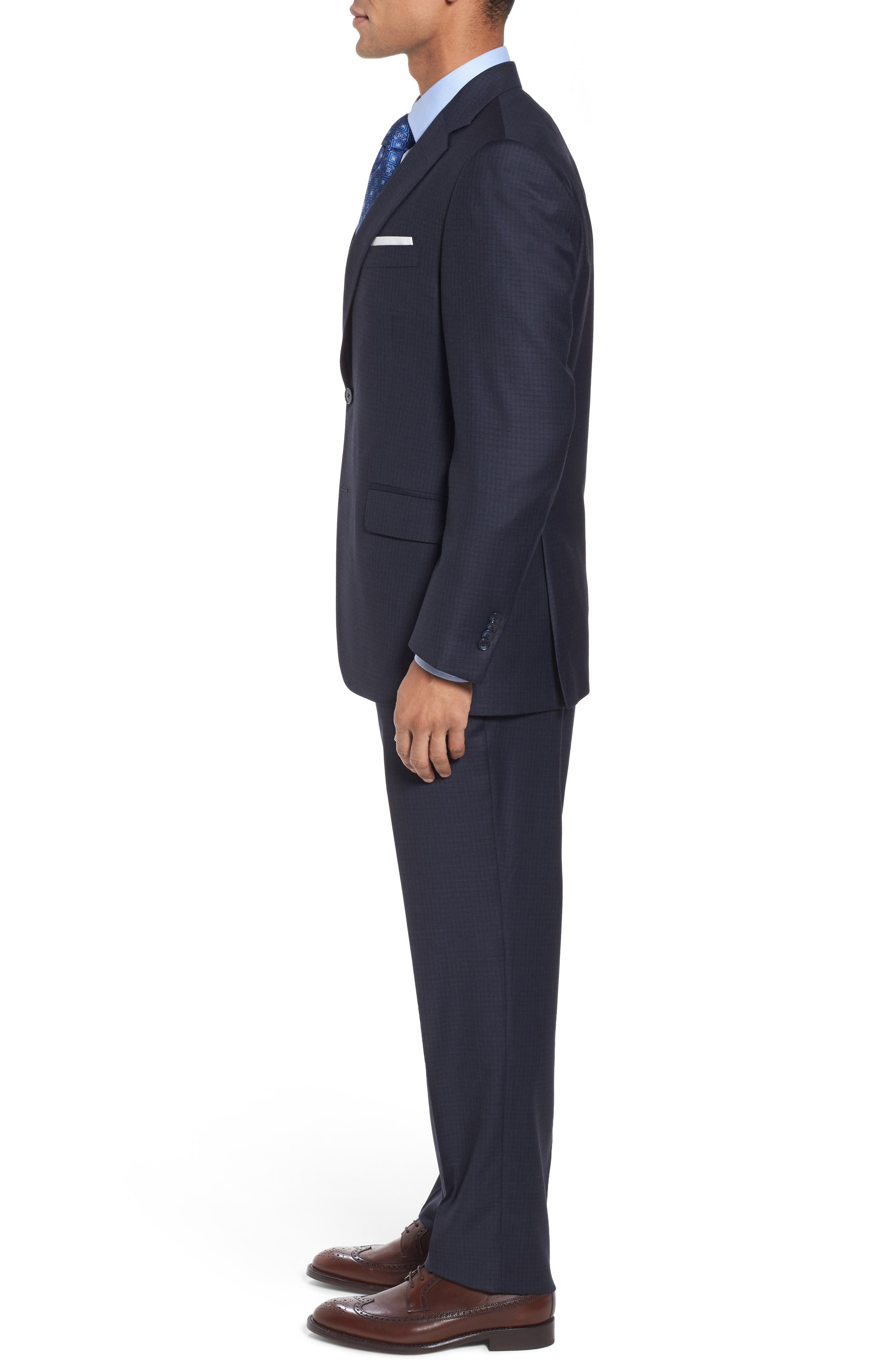 Classic Fit Check Wool Suit,                             Alternate thumbnail 3, color,                             Navy