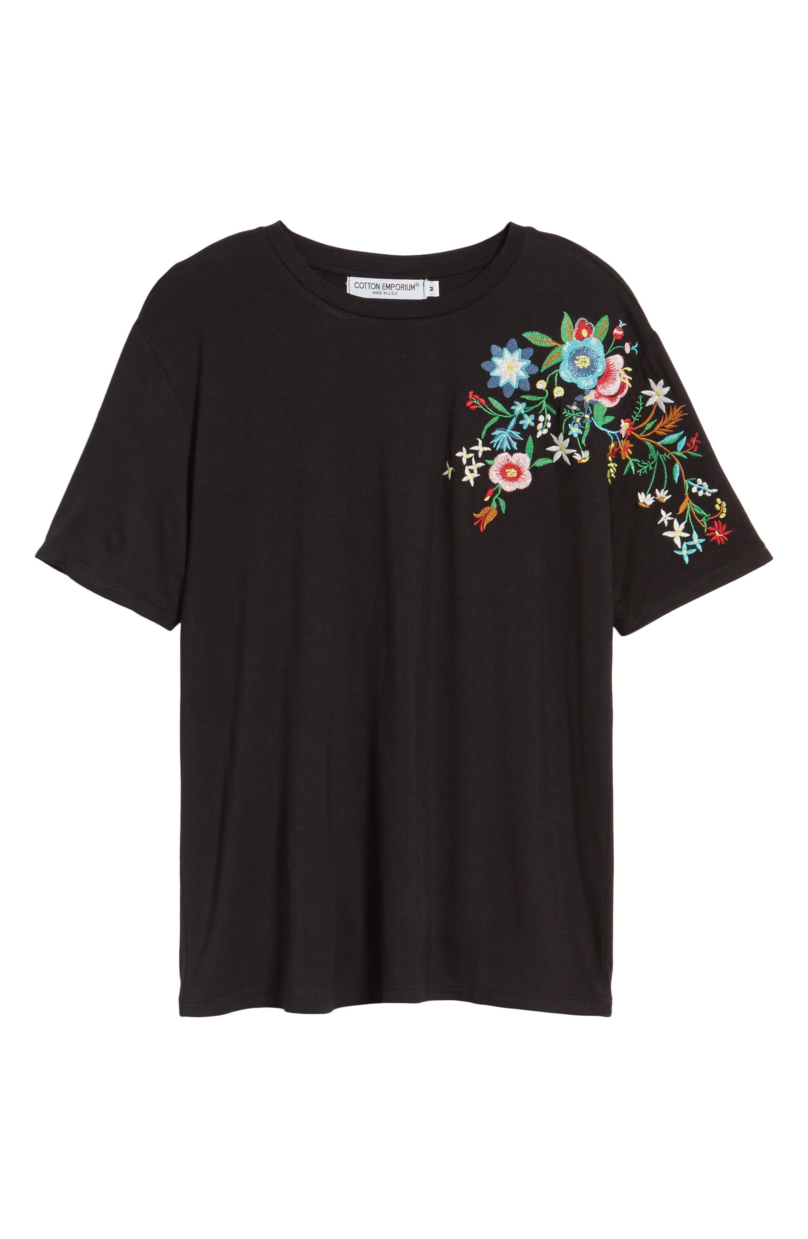 Floral Tee,                             Alternate thumbnail 6, color,                             Black