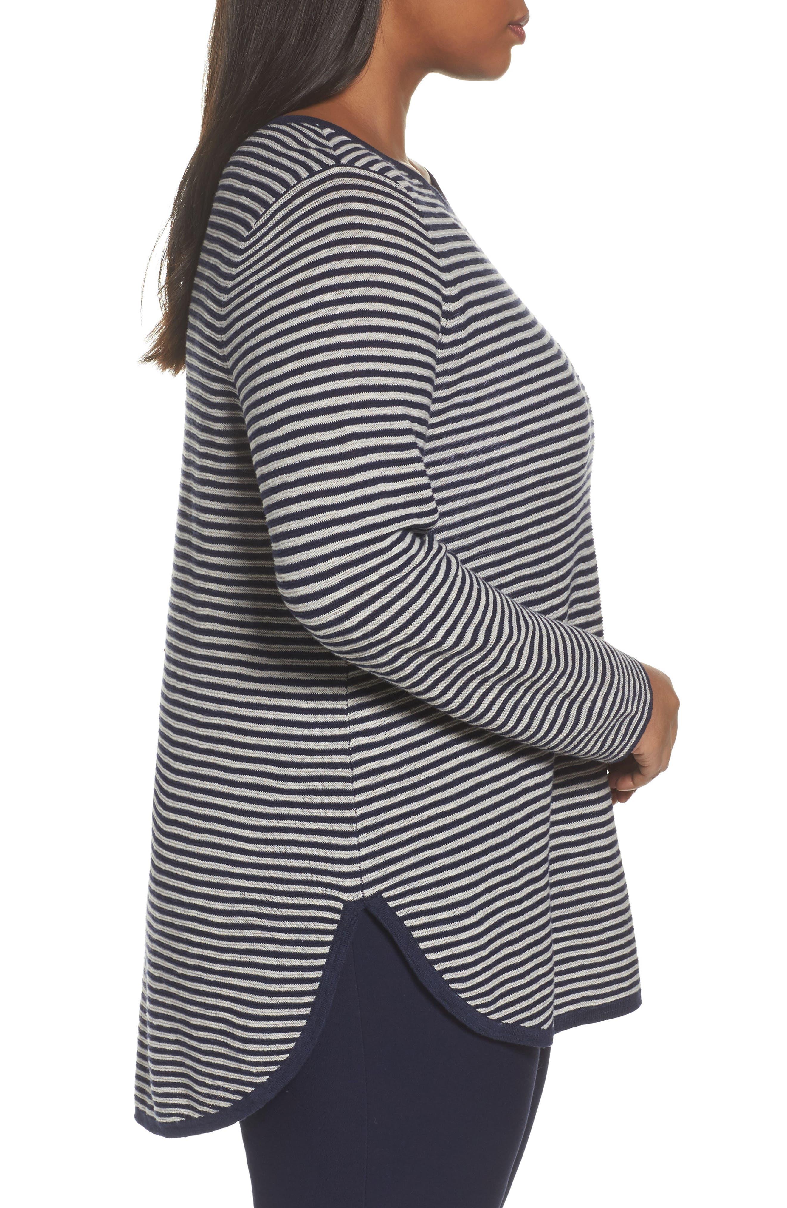 Alternate Image 3  - Eileen Fisher Stripe Organic Linen & Cotton Sweater (Plus Size)
