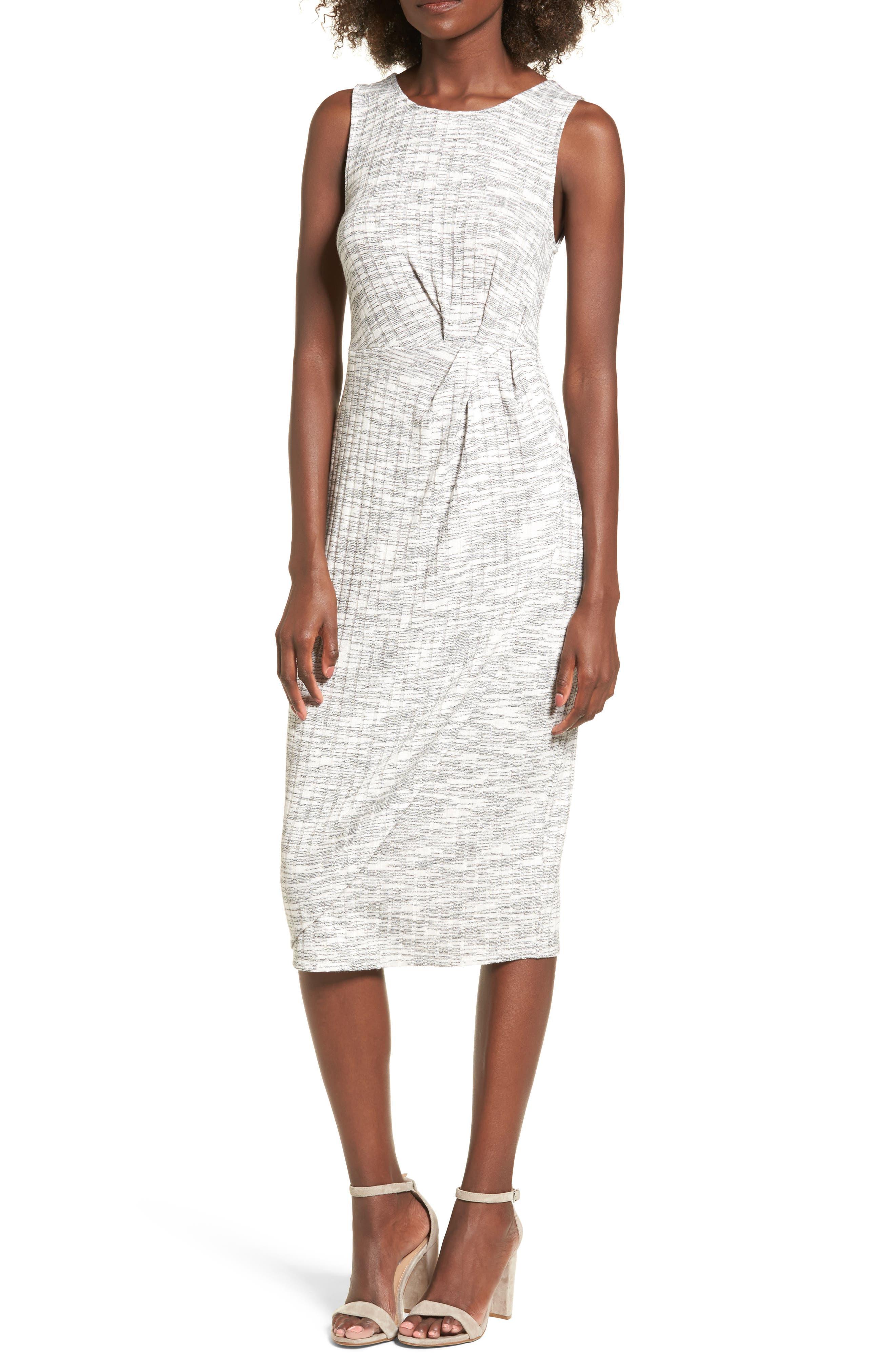 Gathered Waist Midi Dress,                             Main thumbnail 1, color,                             Grey Medium Heather
