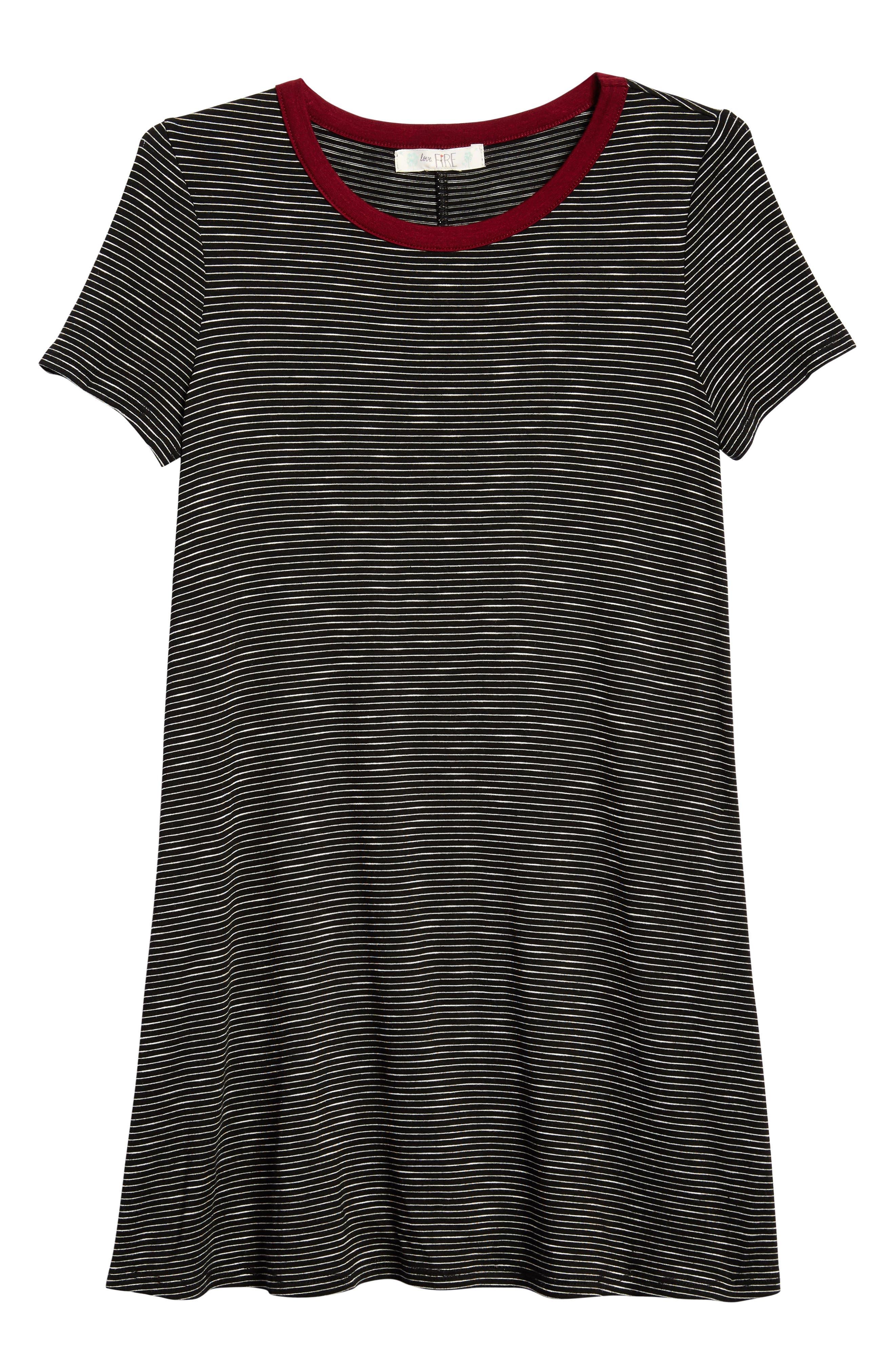 Love, Fire Stripe Ringer T-Shirt Dress (Big Girls)