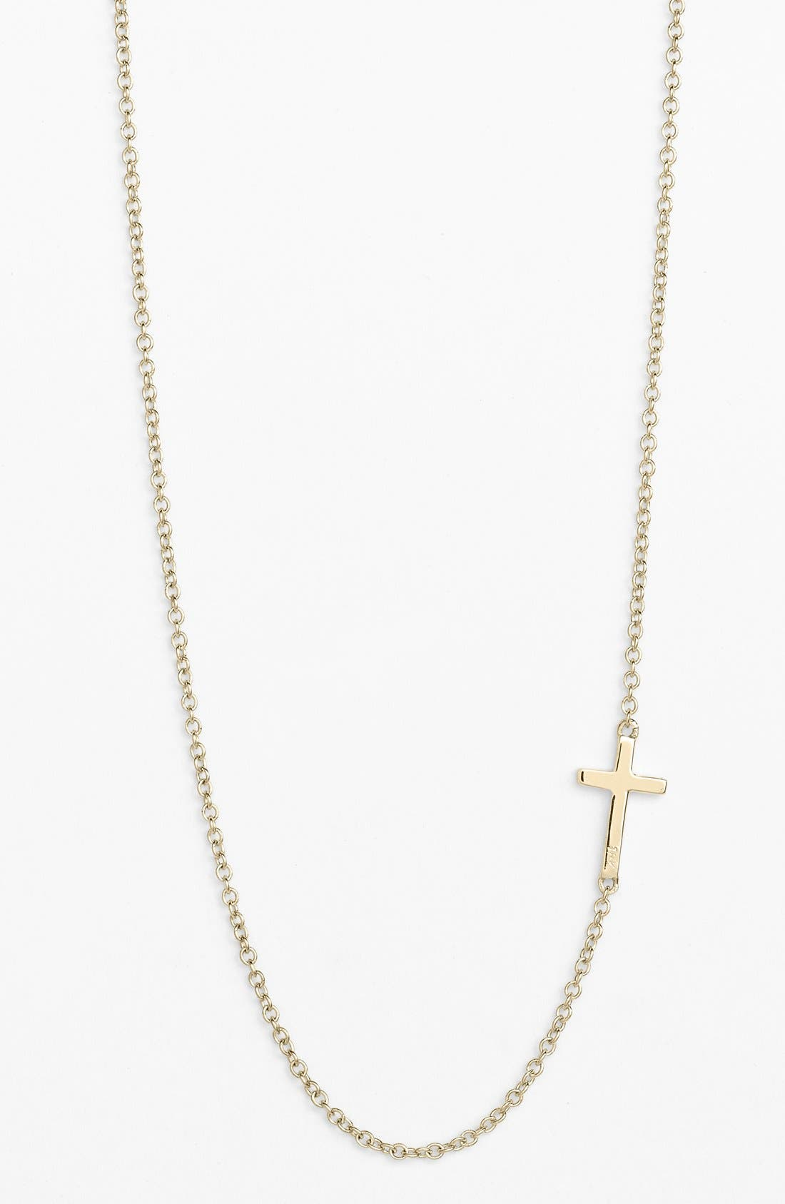 Cross Station Necklace,                         Main,                         color, Yellow Gold