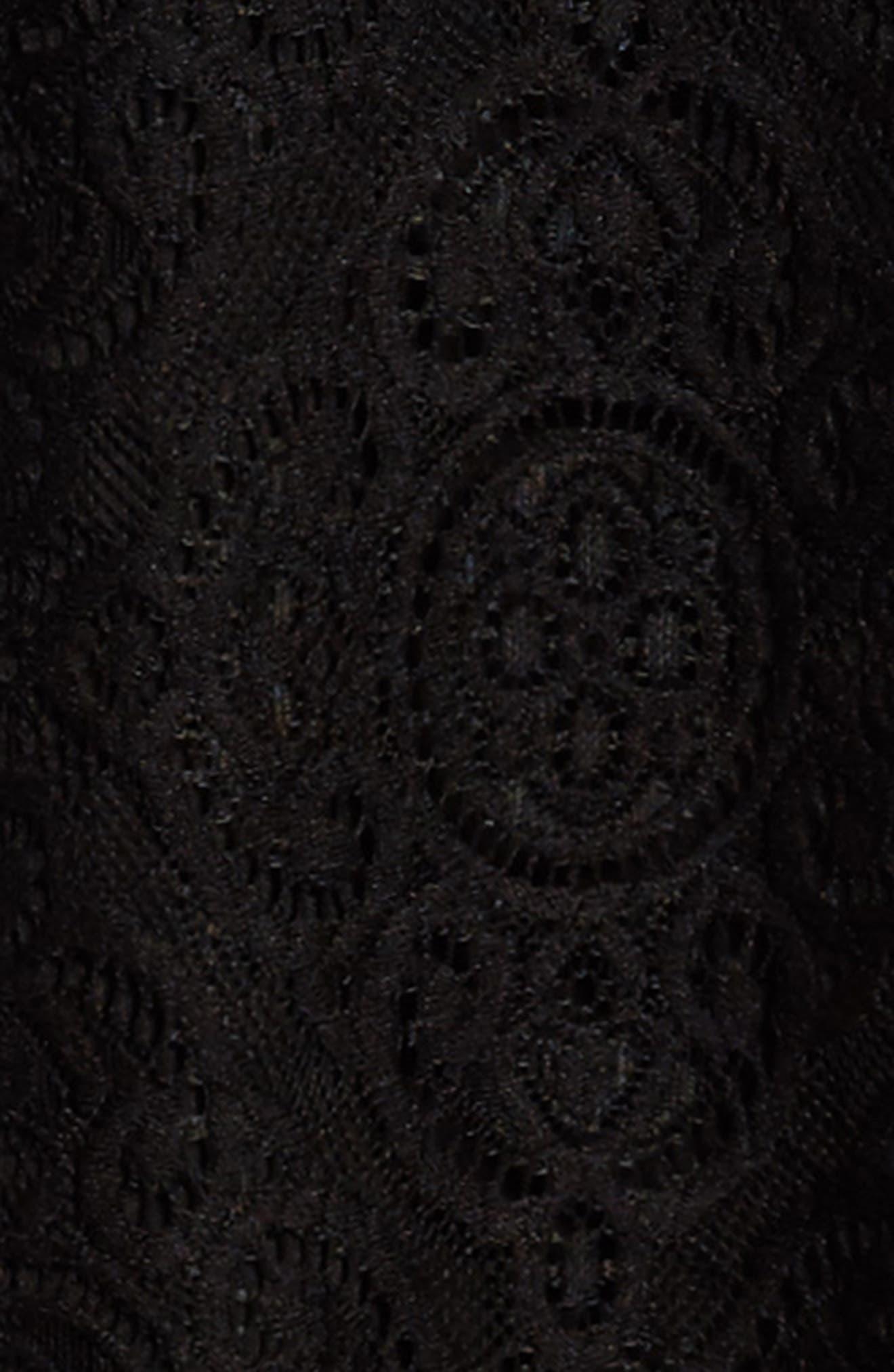Lace Ruffle Cold Shoulder Dress,                             Alternate thumbnail 3, color,                             Black