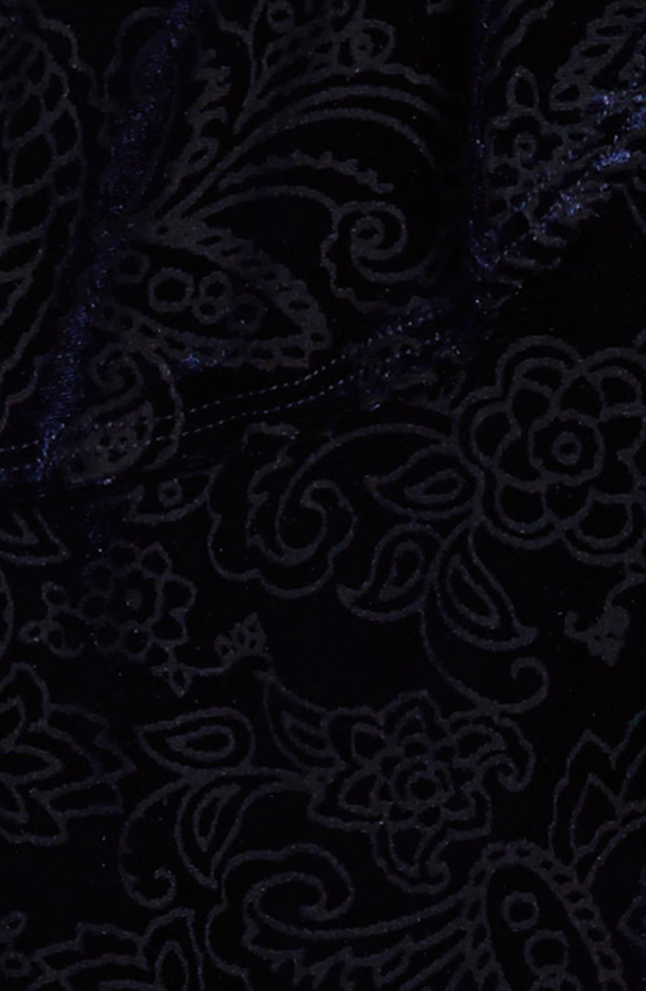 Burnout Velvet Dress,                             Alternate thumbnail 3, color,                             Navy