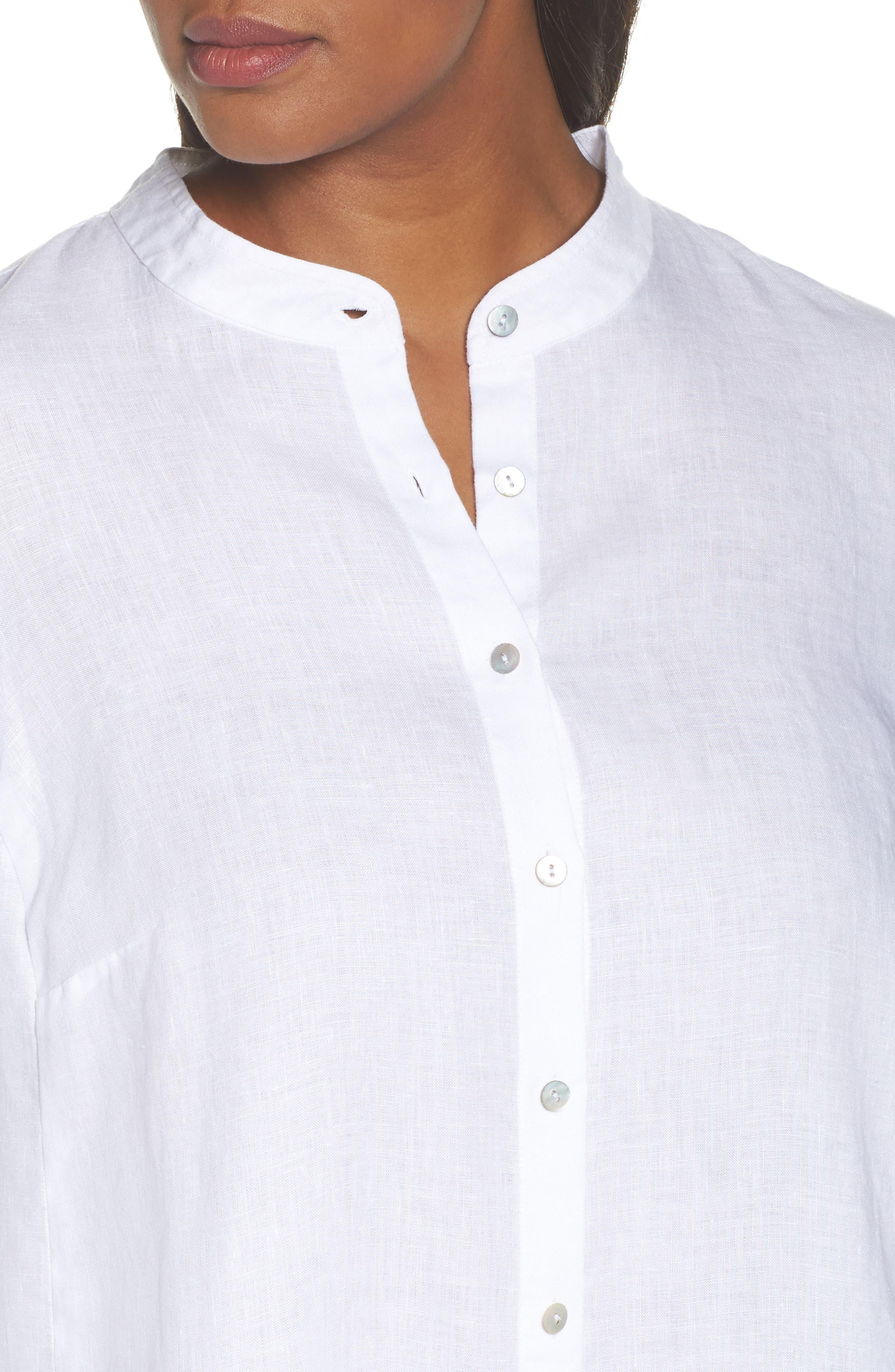 Alternate Image 4  - Eileen Fisher Organic Linen Tunic Shirt (Plus Size)