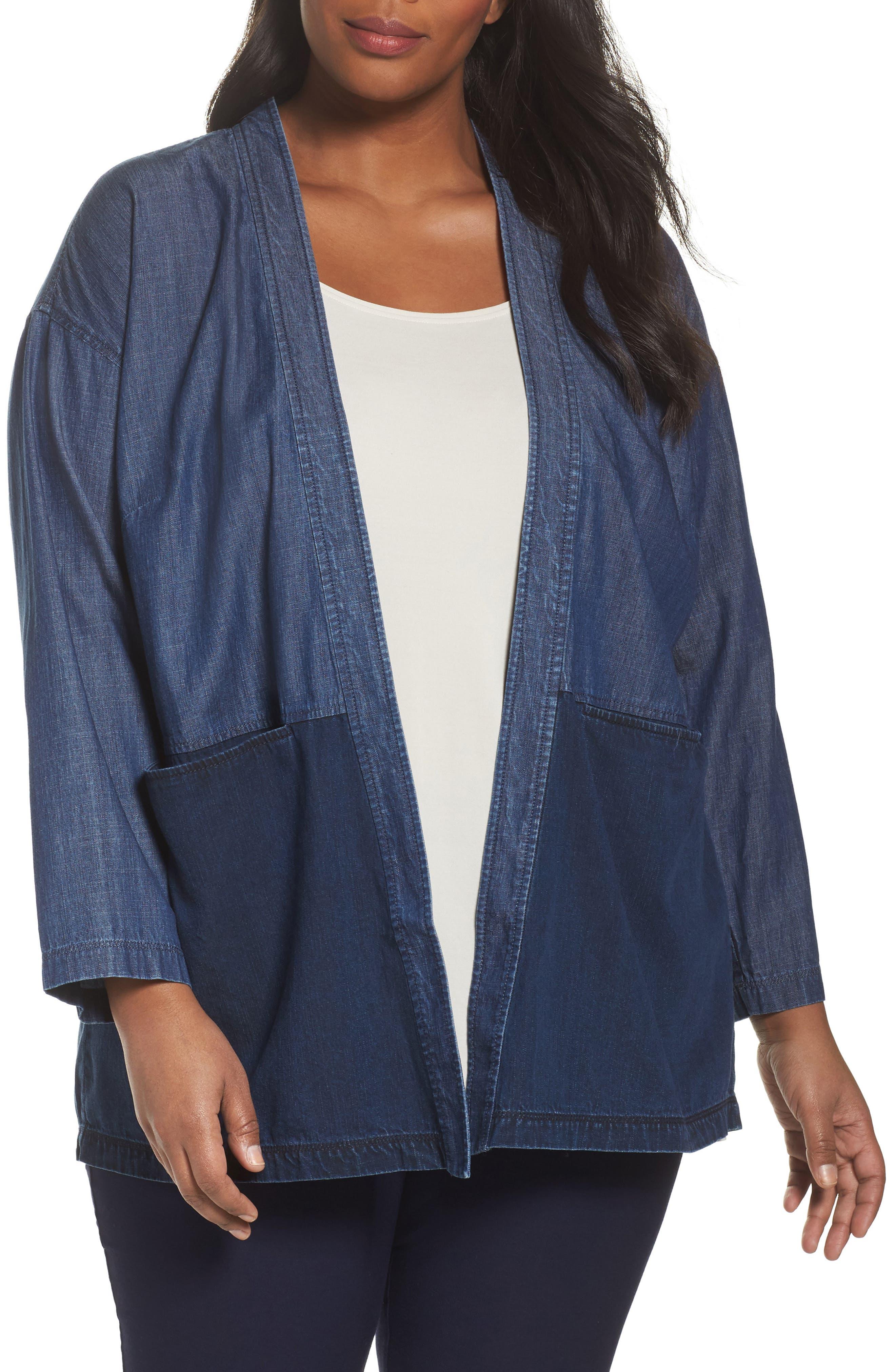 Main Image - Eileen Fisher Denim Kimono Jacket (Plus Size)