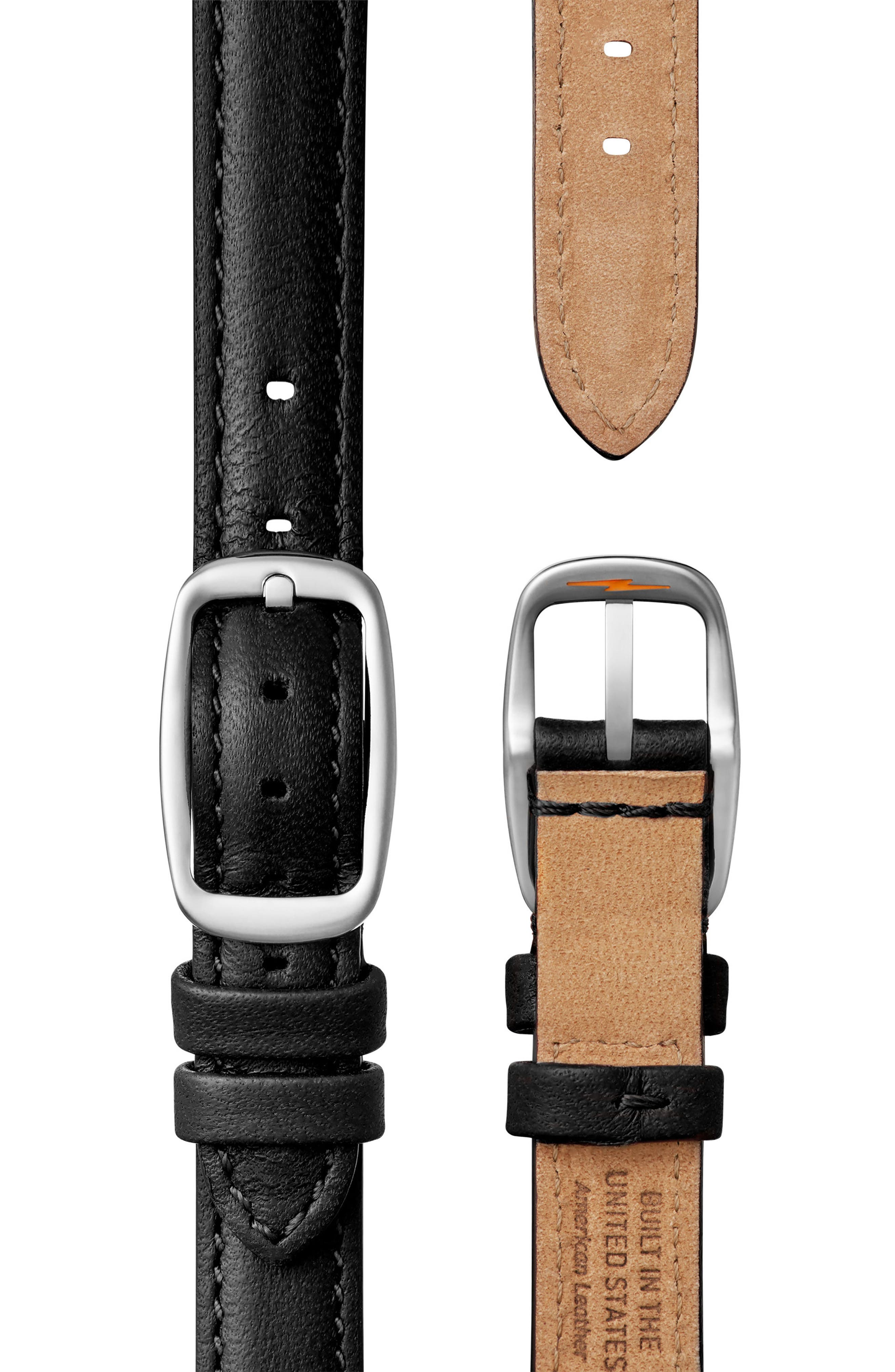 Bolt Leather Strap Watch, 38mm,                             Alternate thumbnail 2, color,                             Black/ Silver