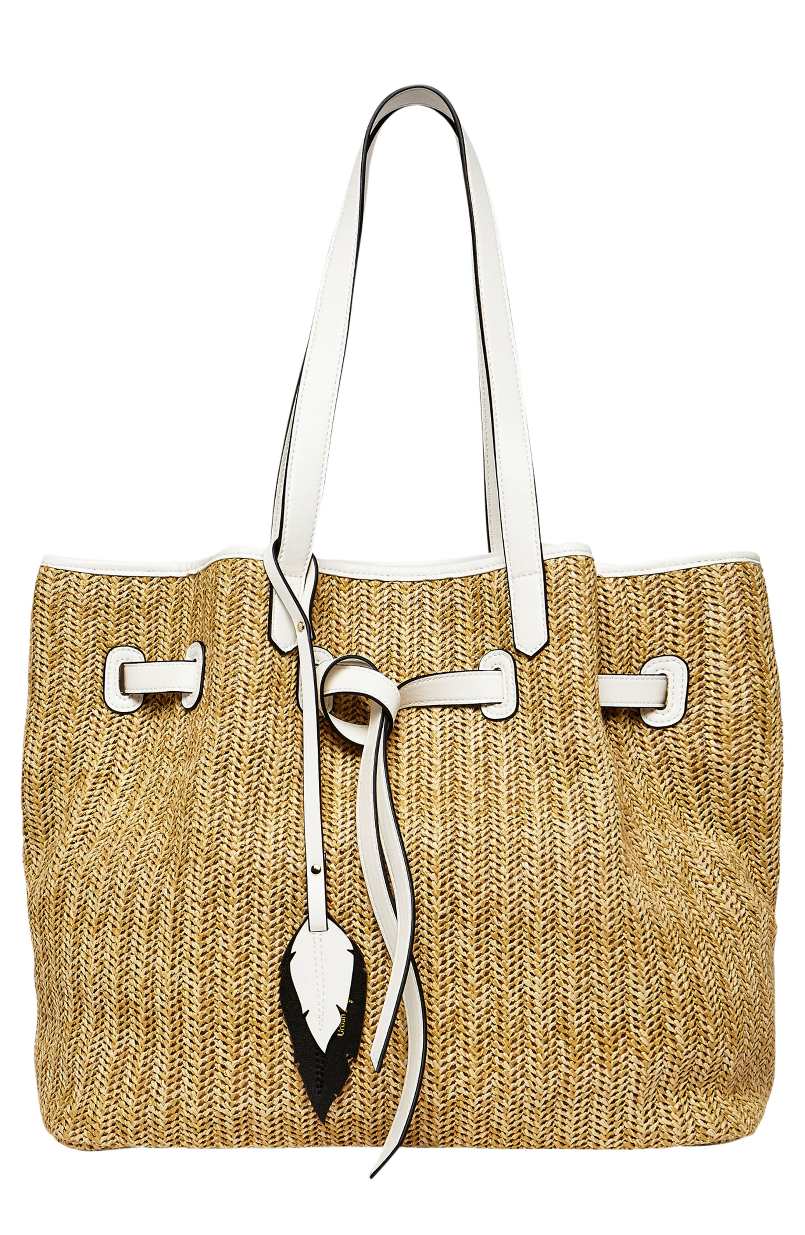 Wild Flower Straw Tote,                             Main thumbnail 1, color,                             Beige