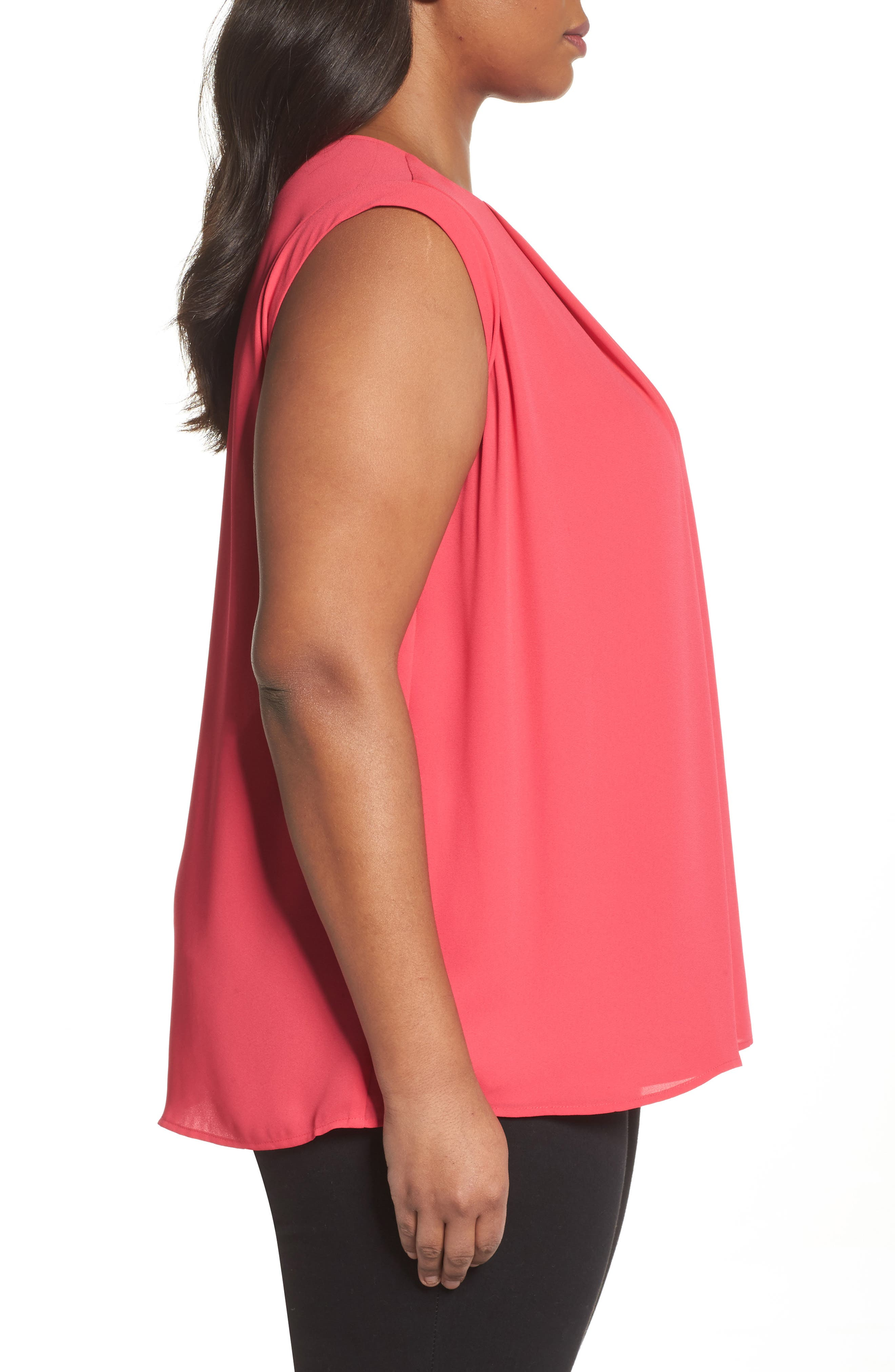 Pleated Blouse,                             Alternate thumbnail 3, color,                             Vibrant Pink