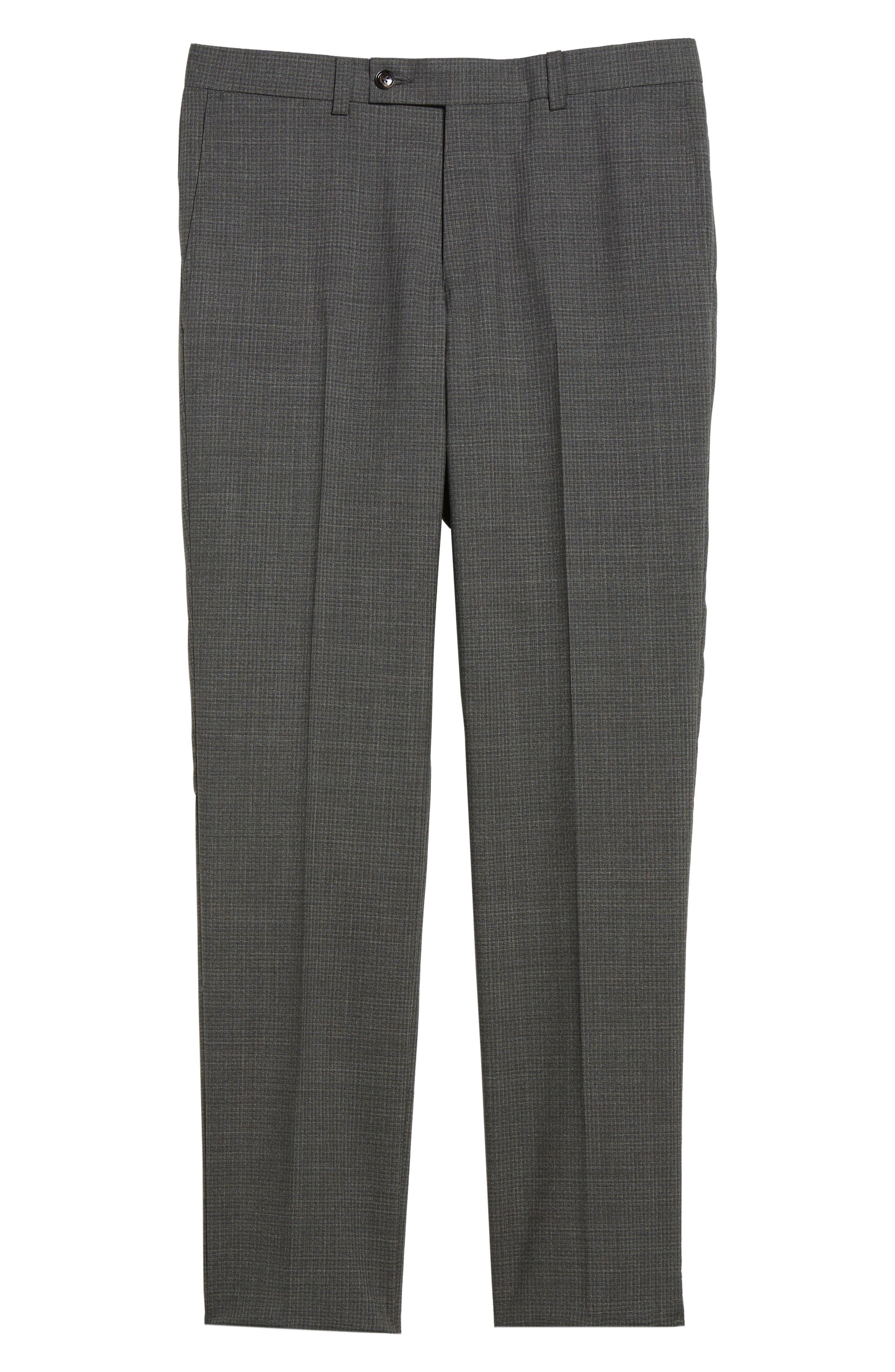 Flat Front Check Wool Trousers,                             Alternate thumbnail 6, color,                             Grey