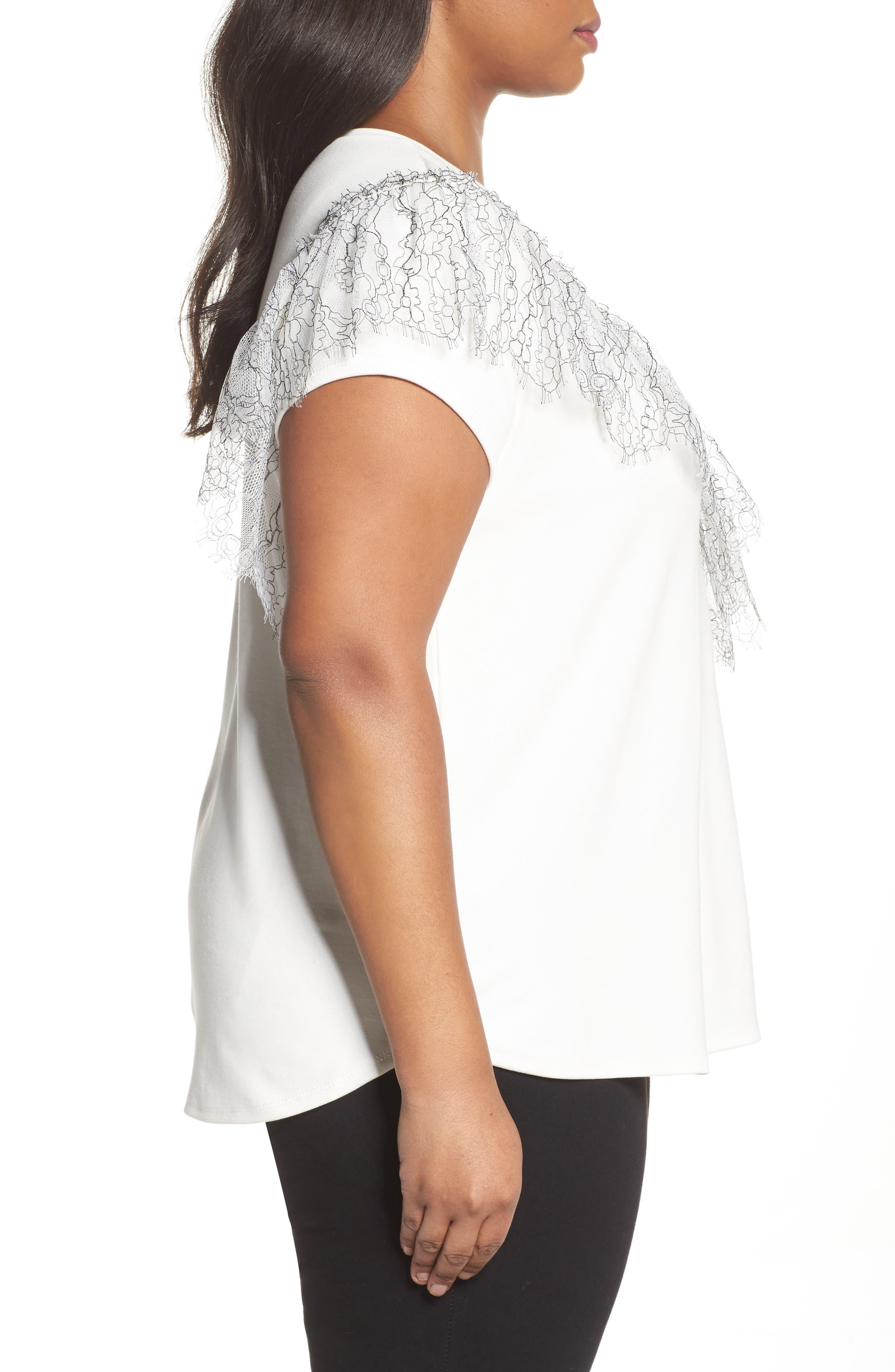 Asymmetrical Lace Tee,                             Alternate thumbnail 3, color,                             White- Black