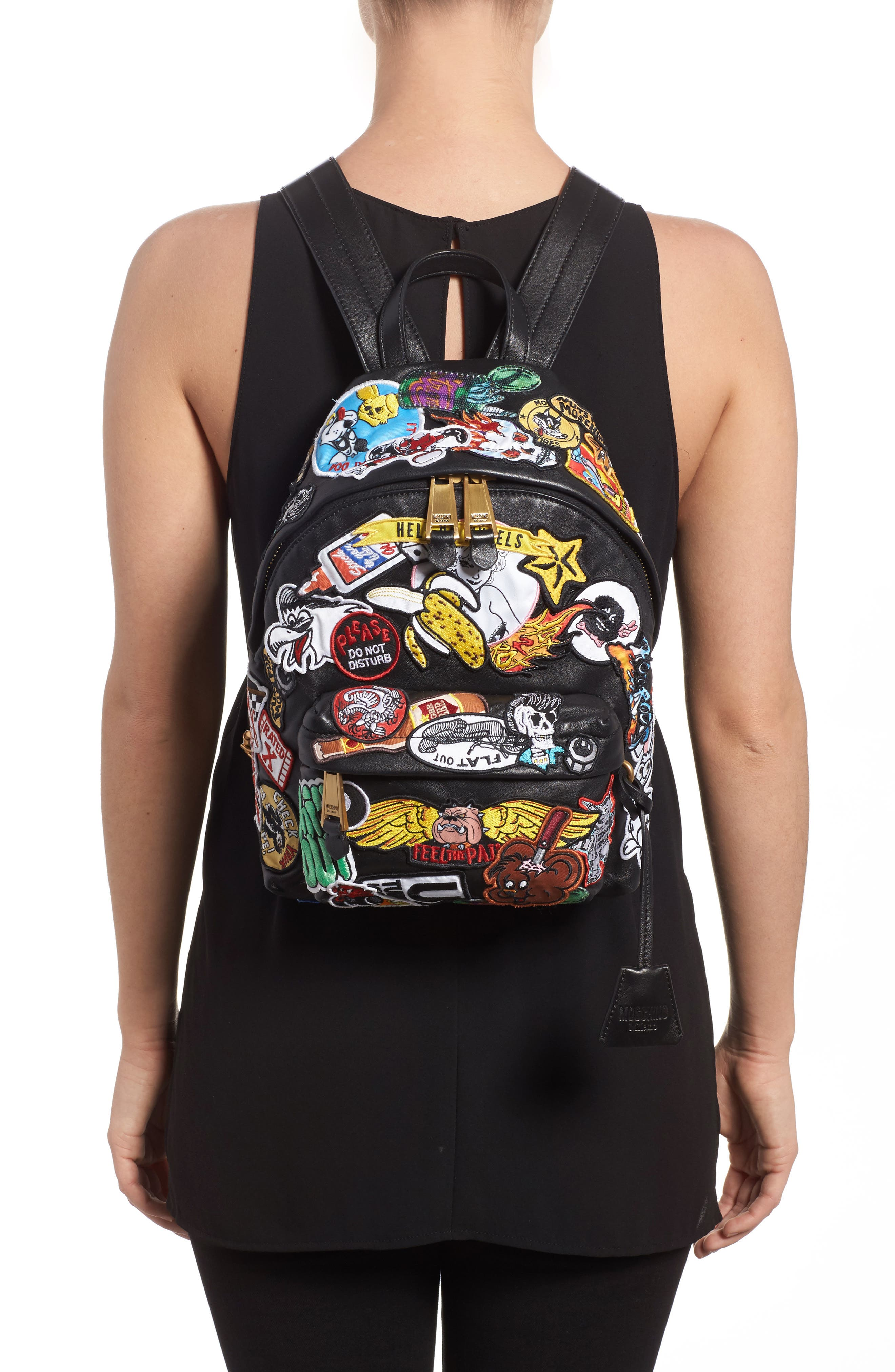 Multi Patch Leather Backpack,                             Alternate thumbnail 2, color,                             Black Multi