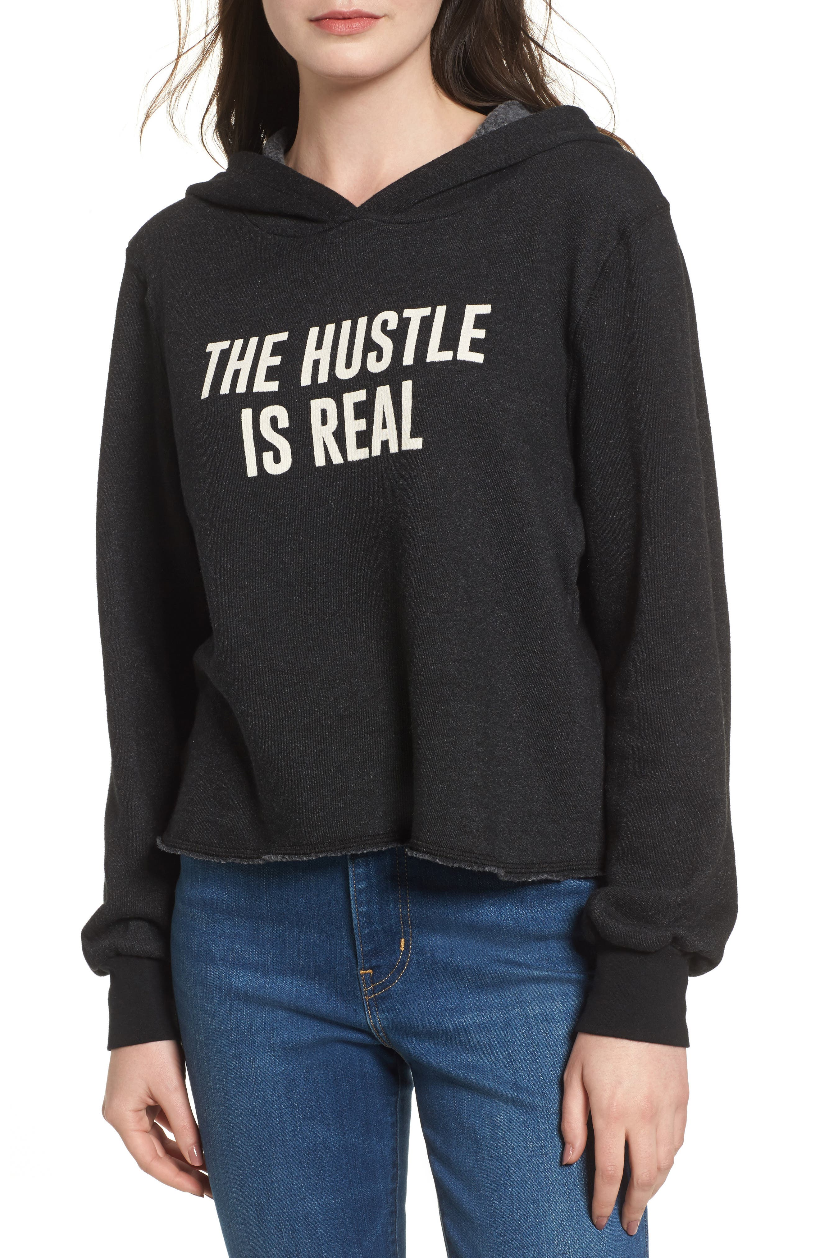 The Hustle is Real Hoodie,                             Main thumbnail 1, color,                             Black