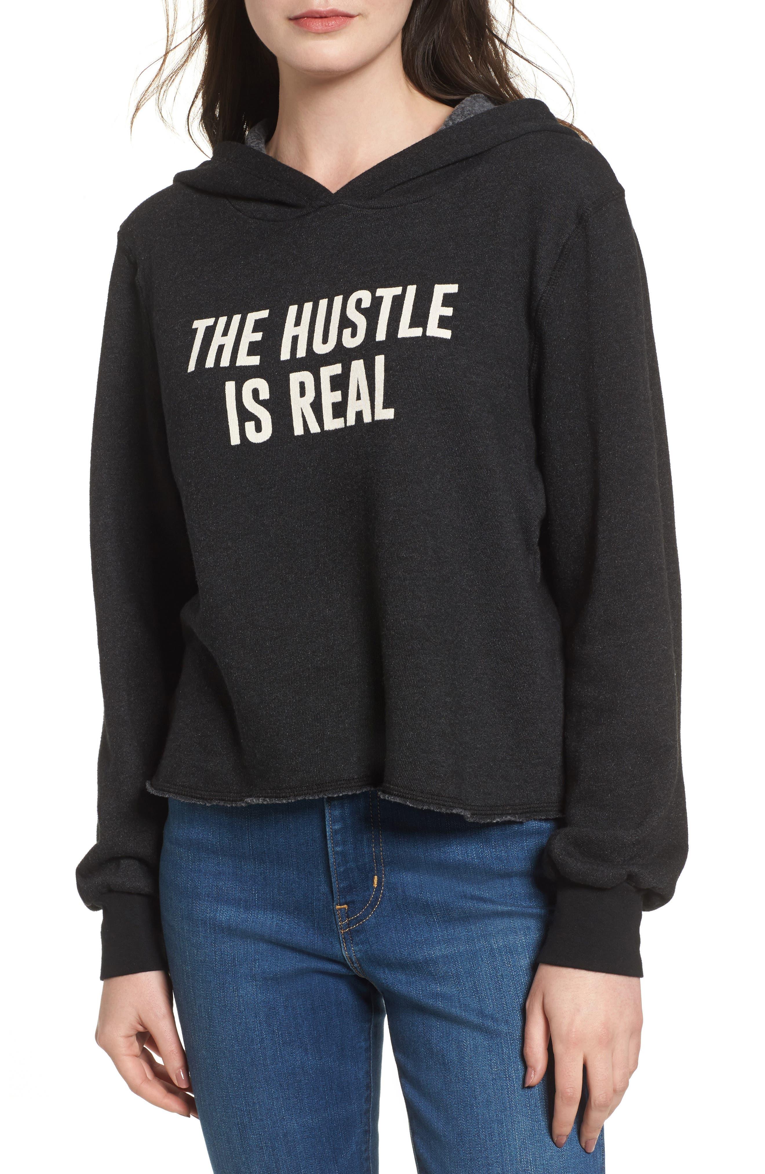 The Hustle is Real Hoodie,                         Main,                         color, Black