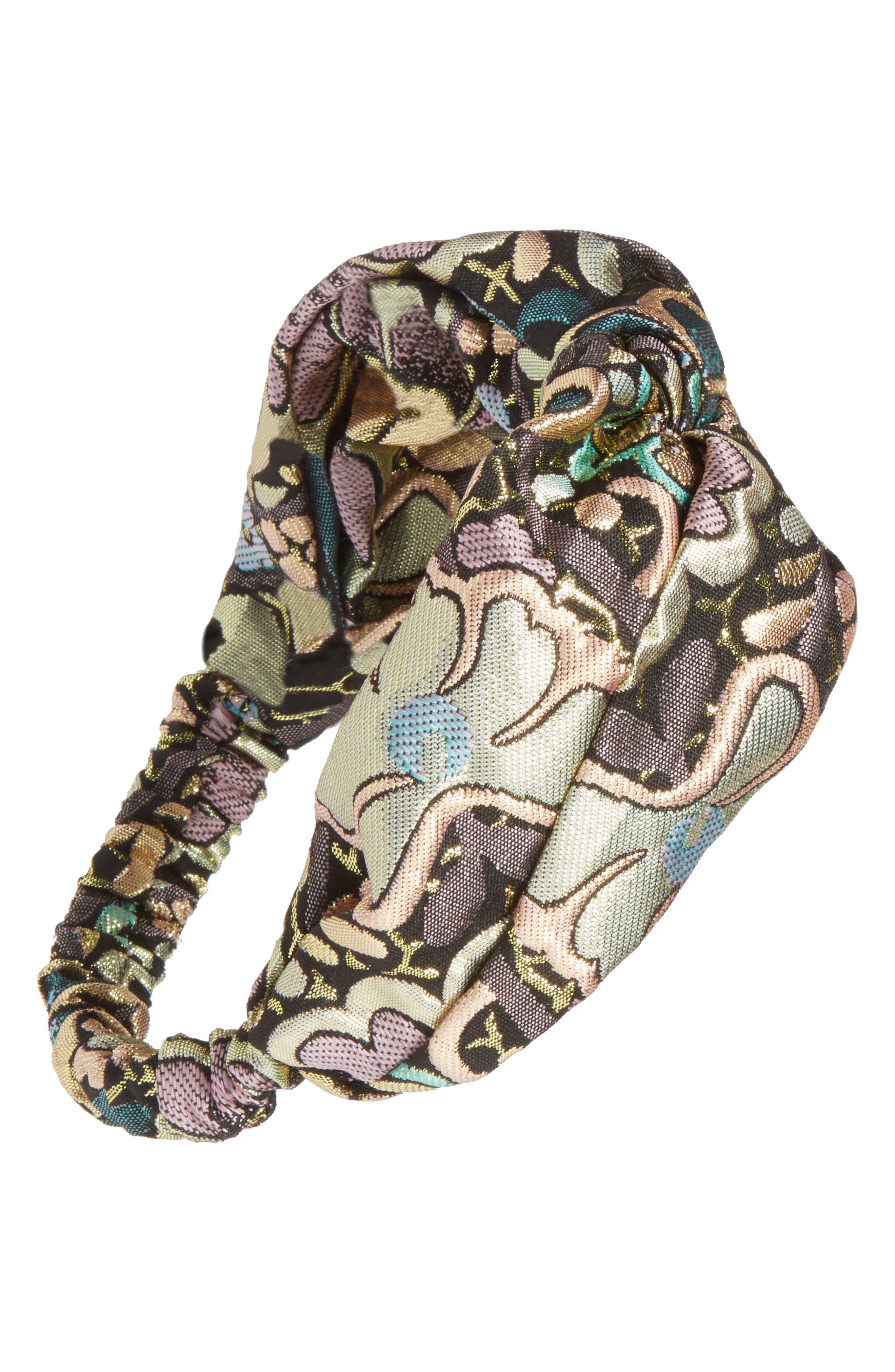 Knotted Brocade Headband,                             Main thumbnail 1, color,                             Gold Multi