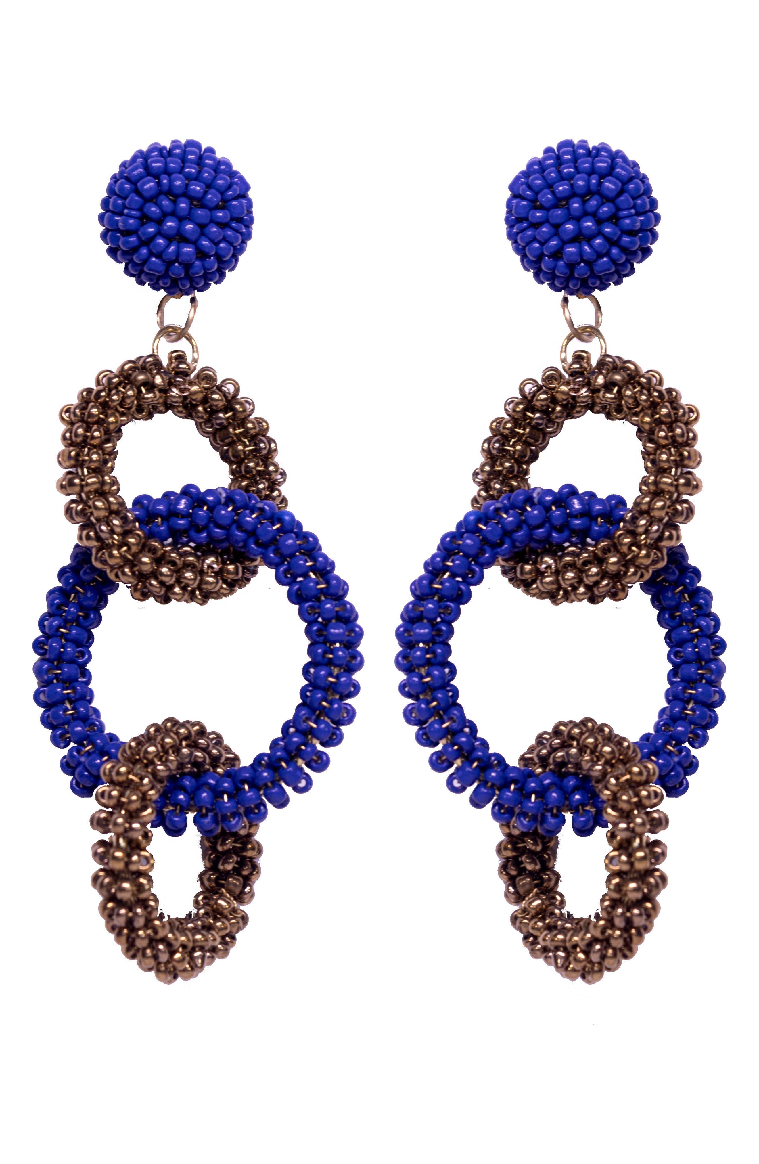 Dominique Drop Earrings,                         Main,                         color, Blue