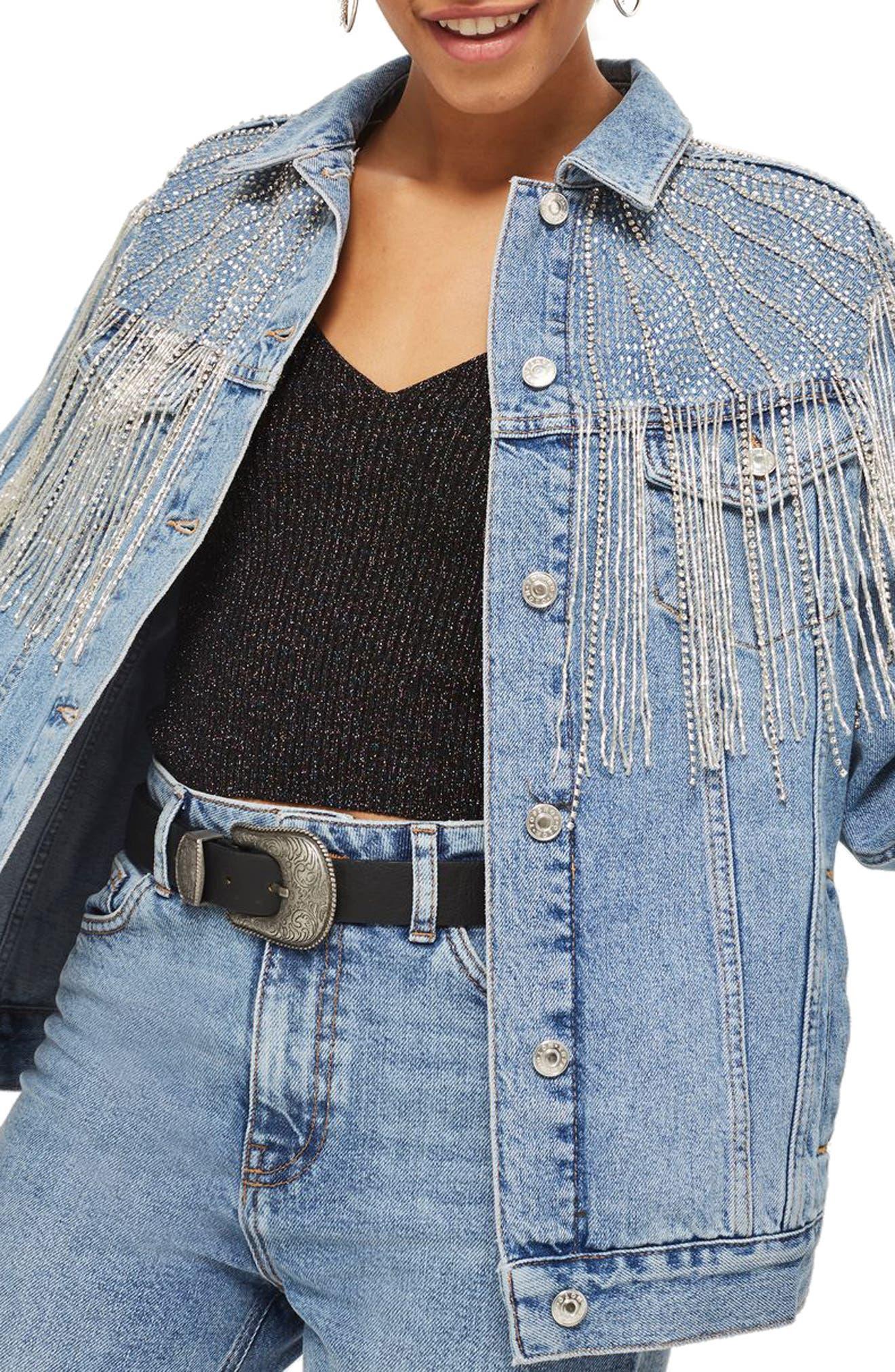 Dolly Sequin Fringe Denim Jacket,                             Alternate thumbnail 3, color,                             Mid Denim