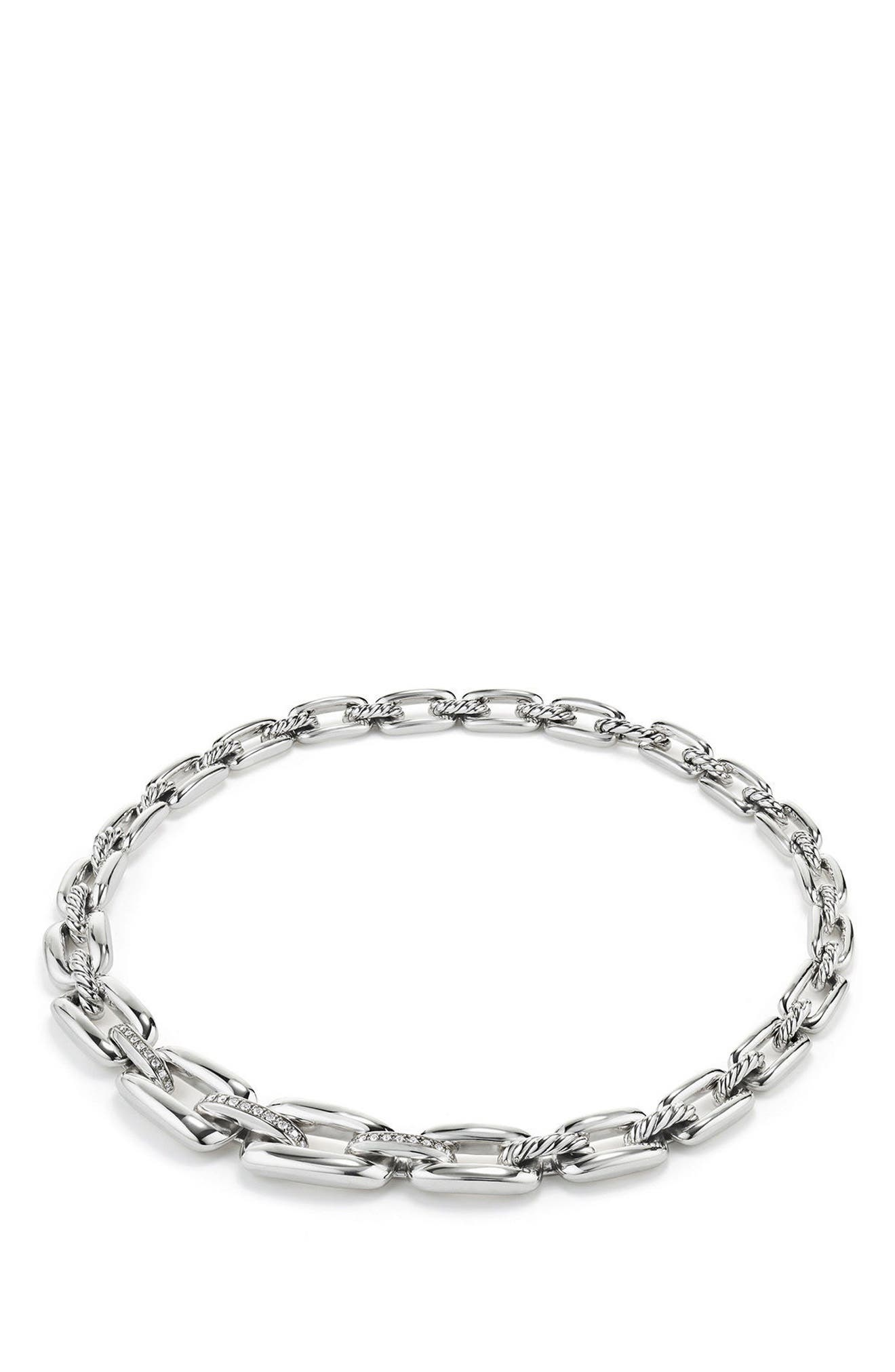 Wellesley Short Chain Necklace with Diamonds,                         Main,                         color, Silver