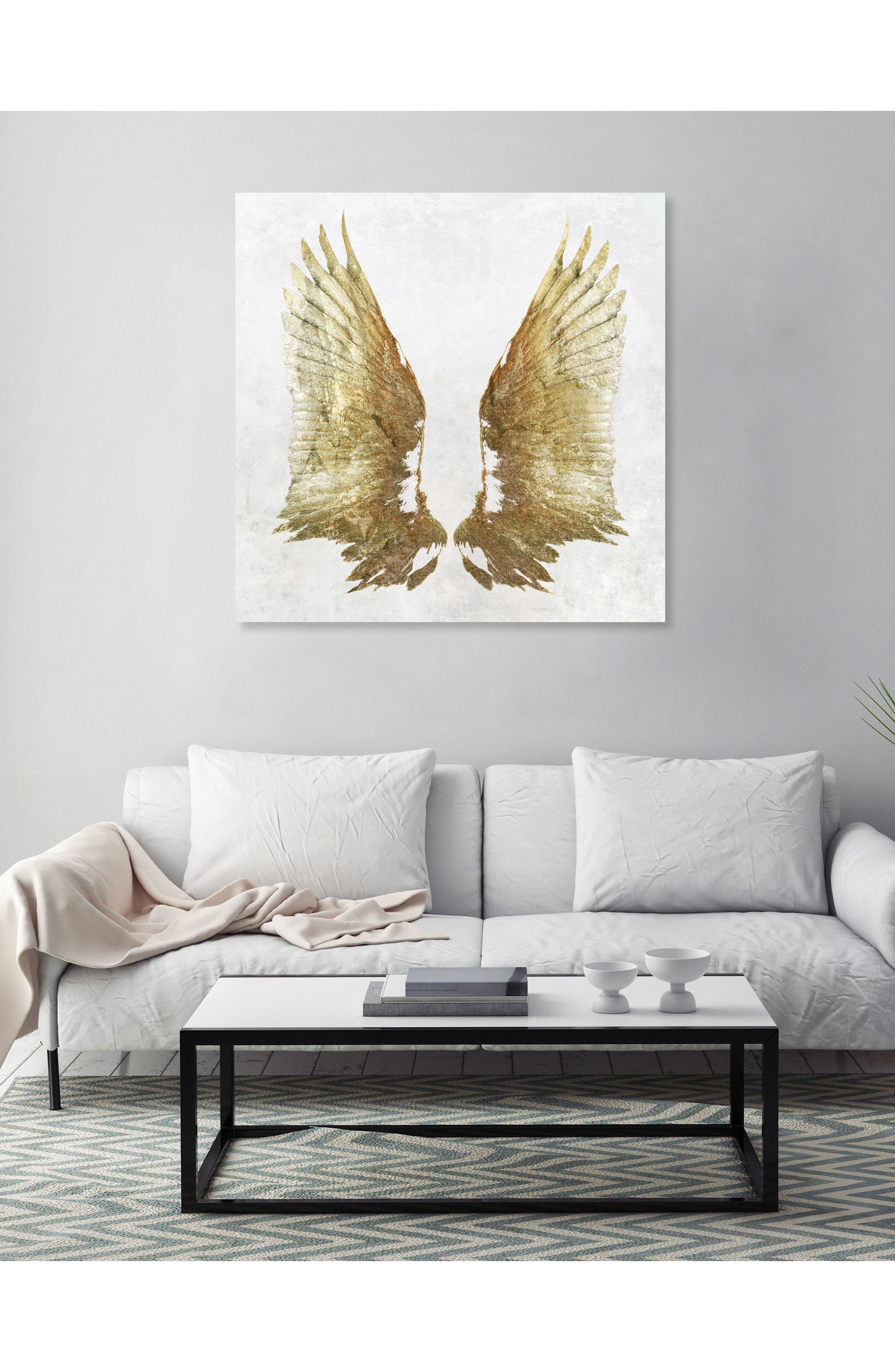 Golden Wings Light Canvas Wall Art,                             Alternate thumbnail 2, color,                             White