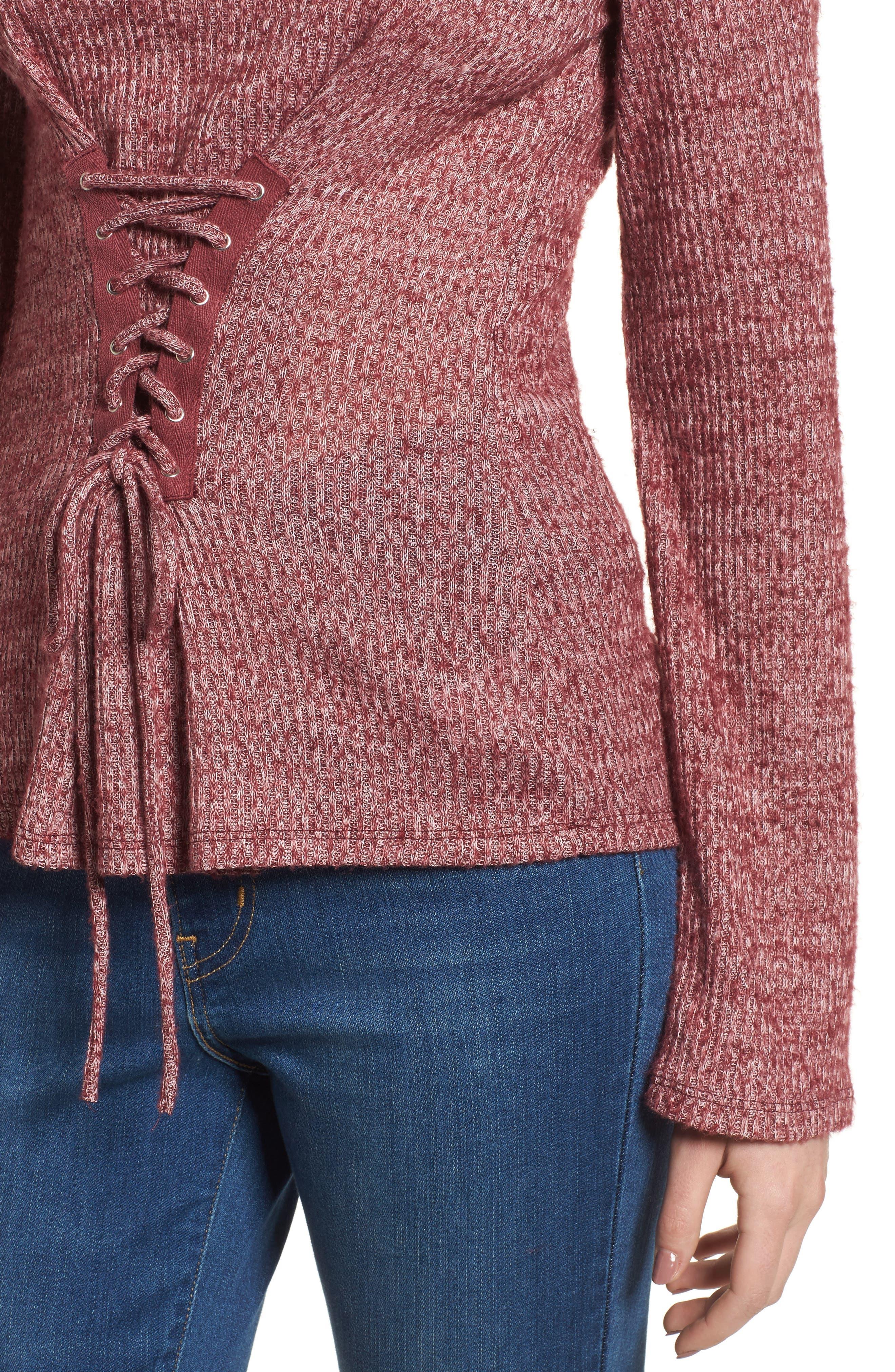 Rib Knit Corset Top,                             Alternate thumbnail 4, color,                             Burgundy Royale