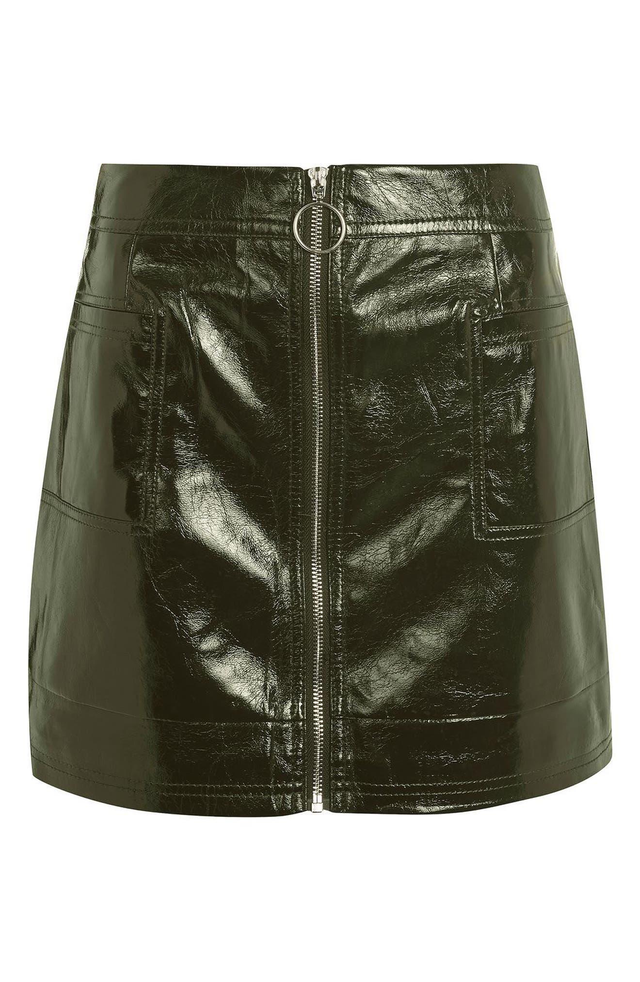 Alternate Image 3  - Topshop Zip Through Cracked Vinyl Miniskirt