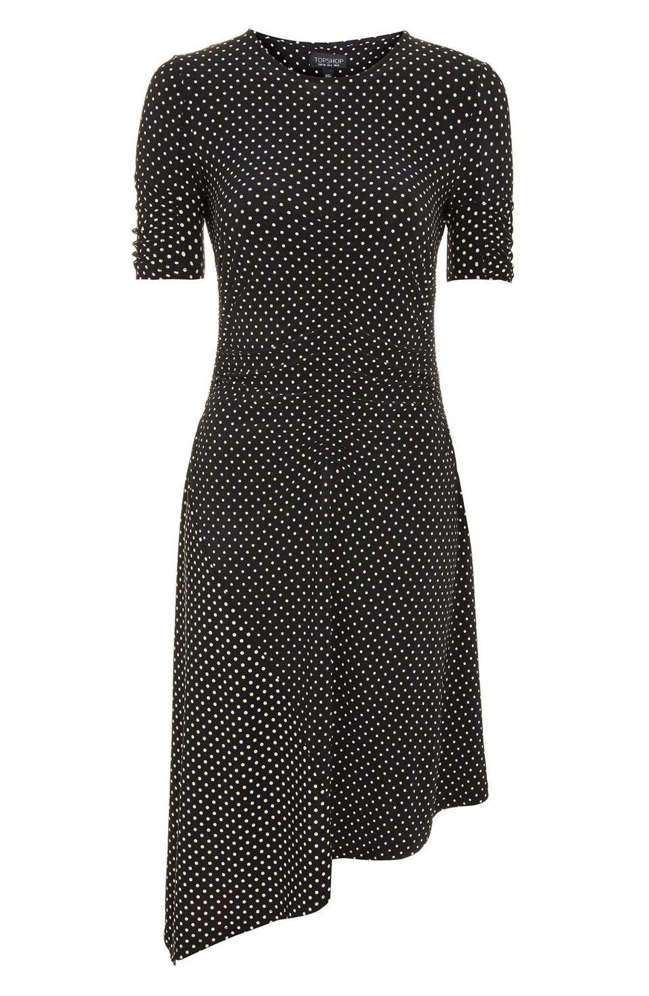 Polka Dot Asymmetrical Midi Dress,                             Alternate thumbnail 4, color,                             Black Multi