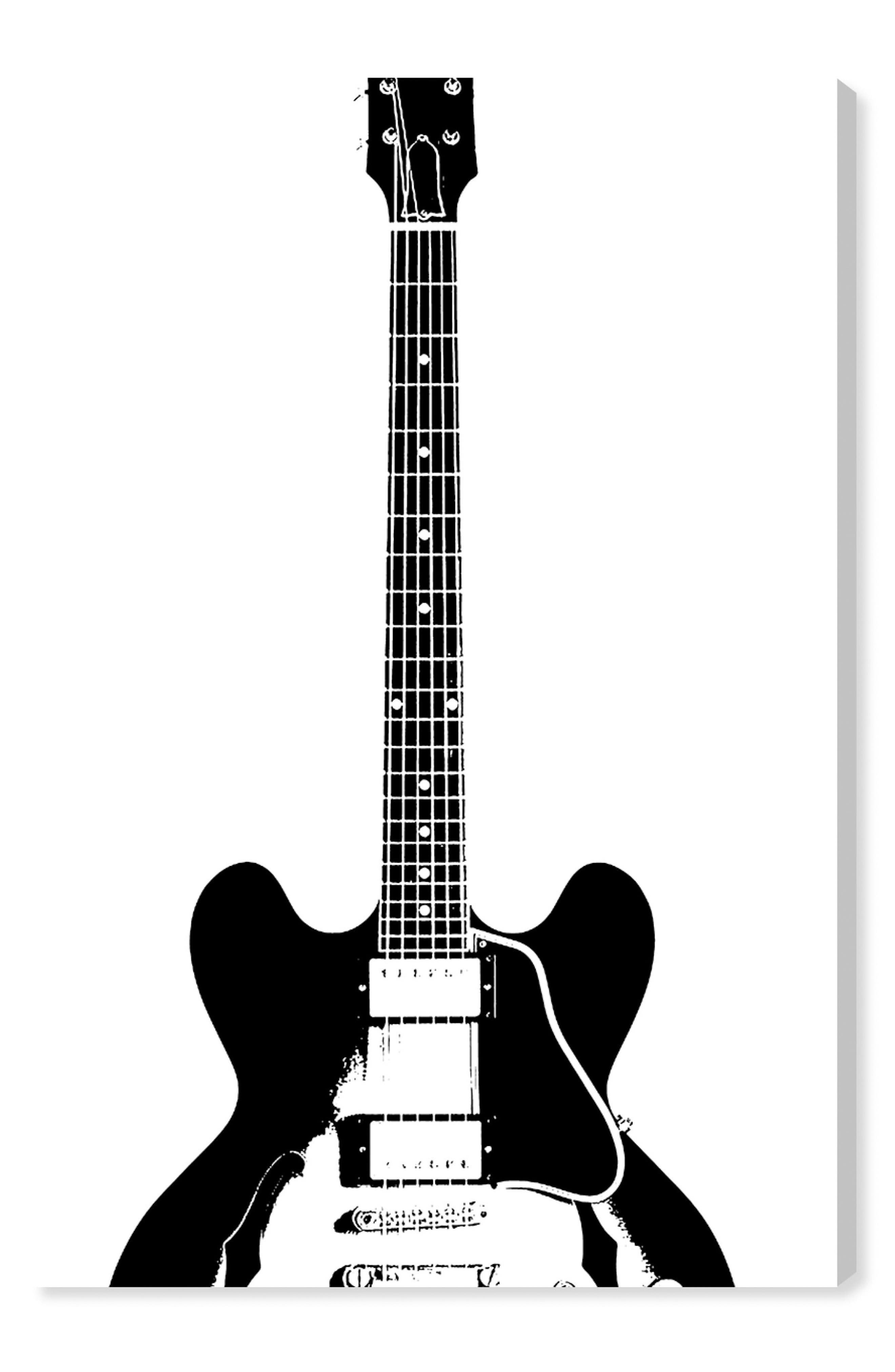 Guitar in Black Canvas Wall Art,                         Main,                         color, White