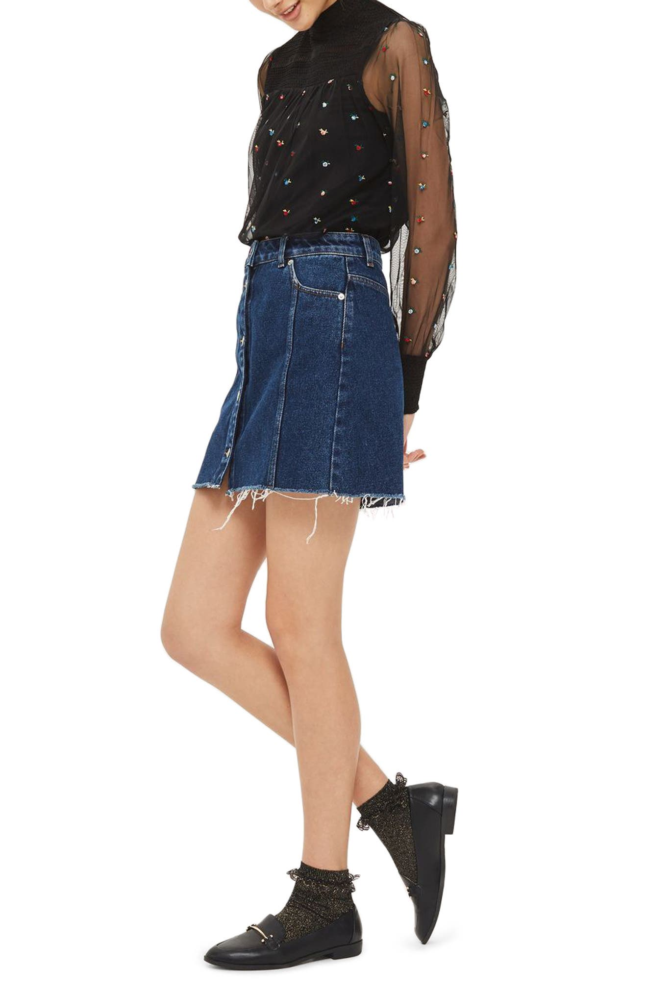 Alternate Image 2  - Topshop Ditsy Embroidered Smock Top