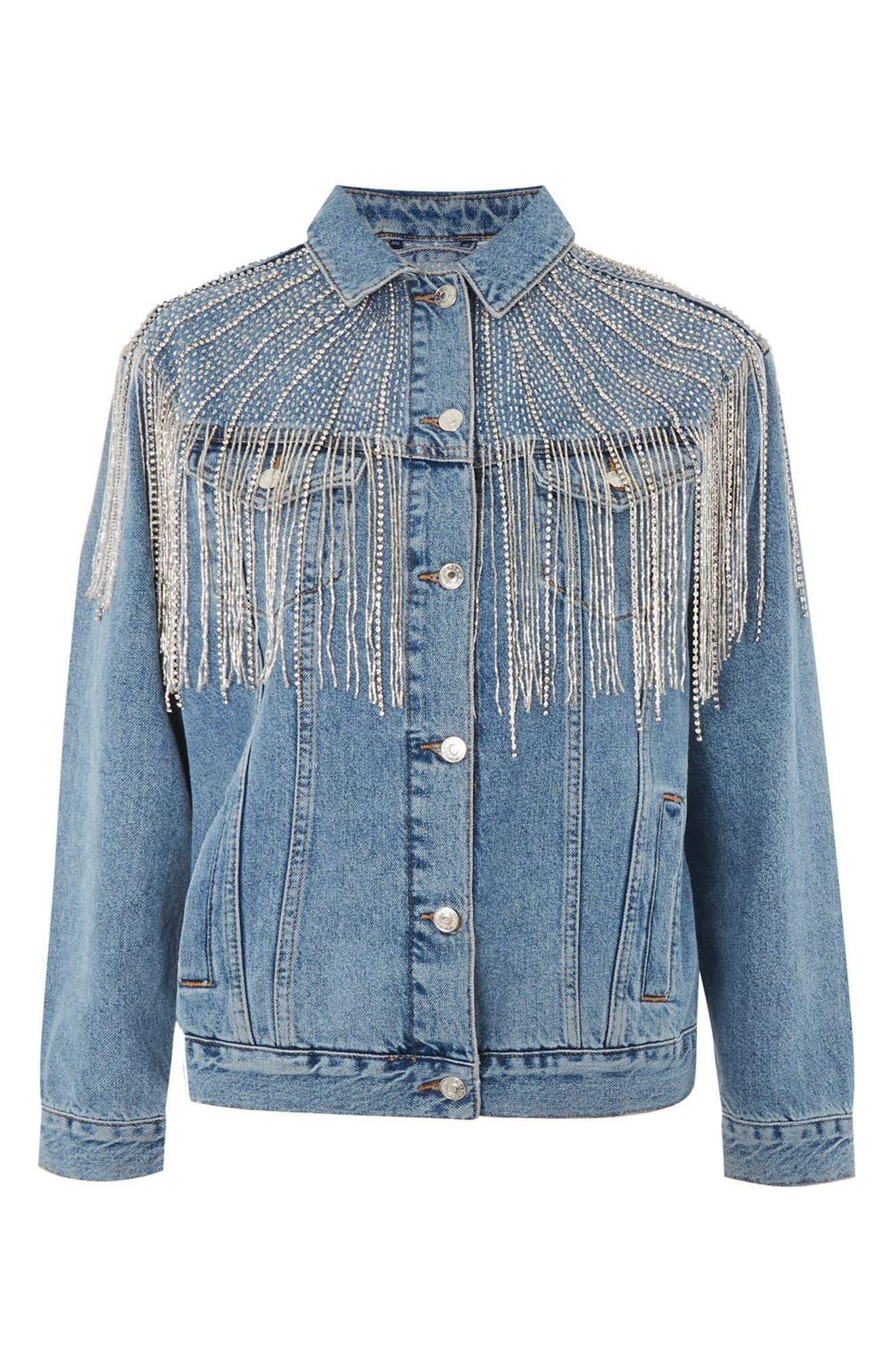 Dolly Sequin Fringe Denim Jacket,                             Alternate thumbnail 4, color,                             Mid Denim