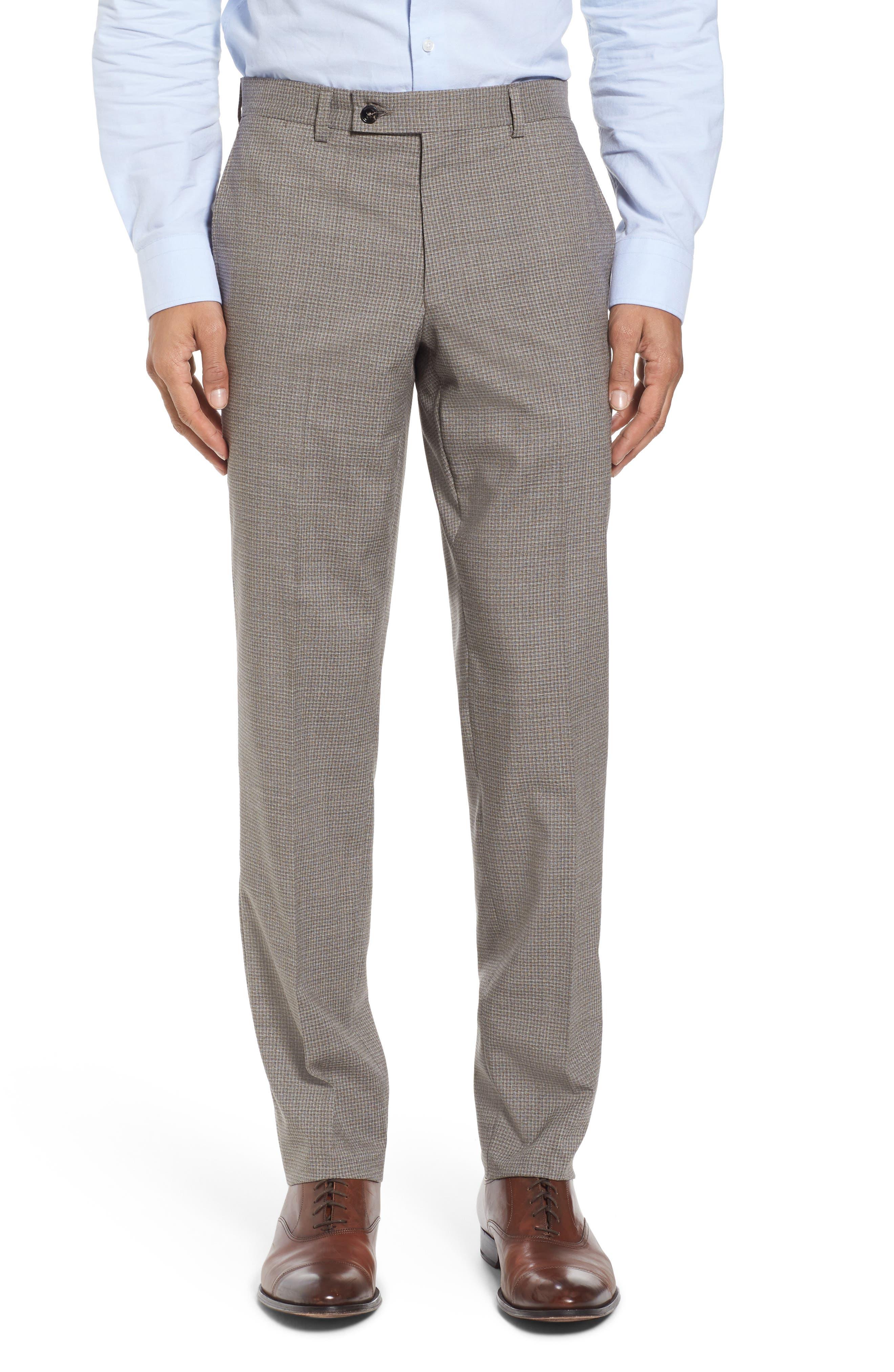 Flat Front Check Wool Trousers,                             Main thumbnail 1, color,                             Tan